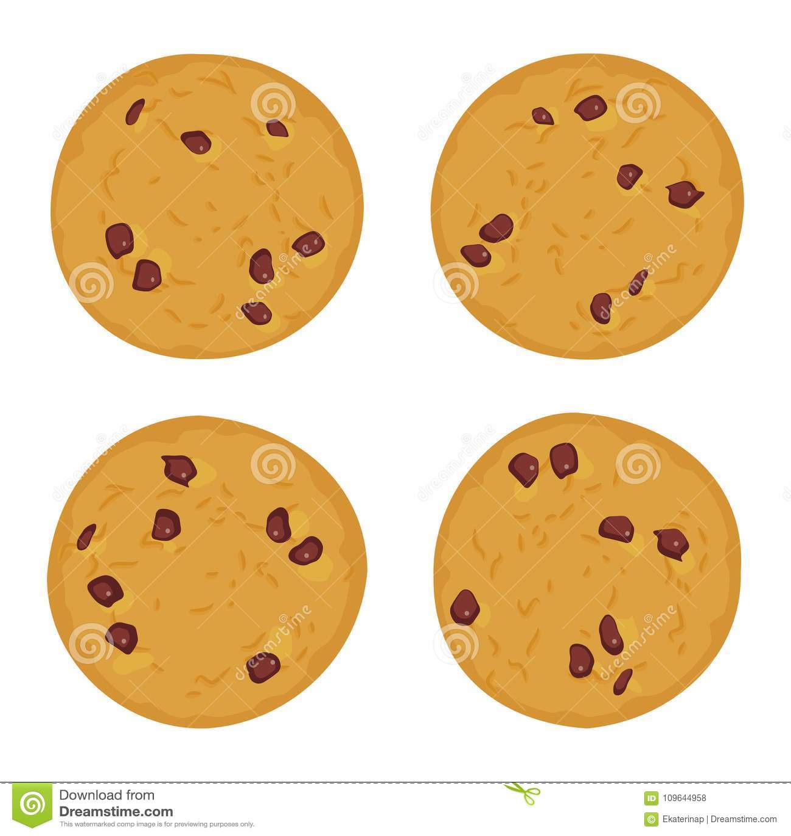 Свеже испеченный комплект печенья обломока шоколада, 4 печеньям изолированным на белой предпосылке Яркие цветы вектор