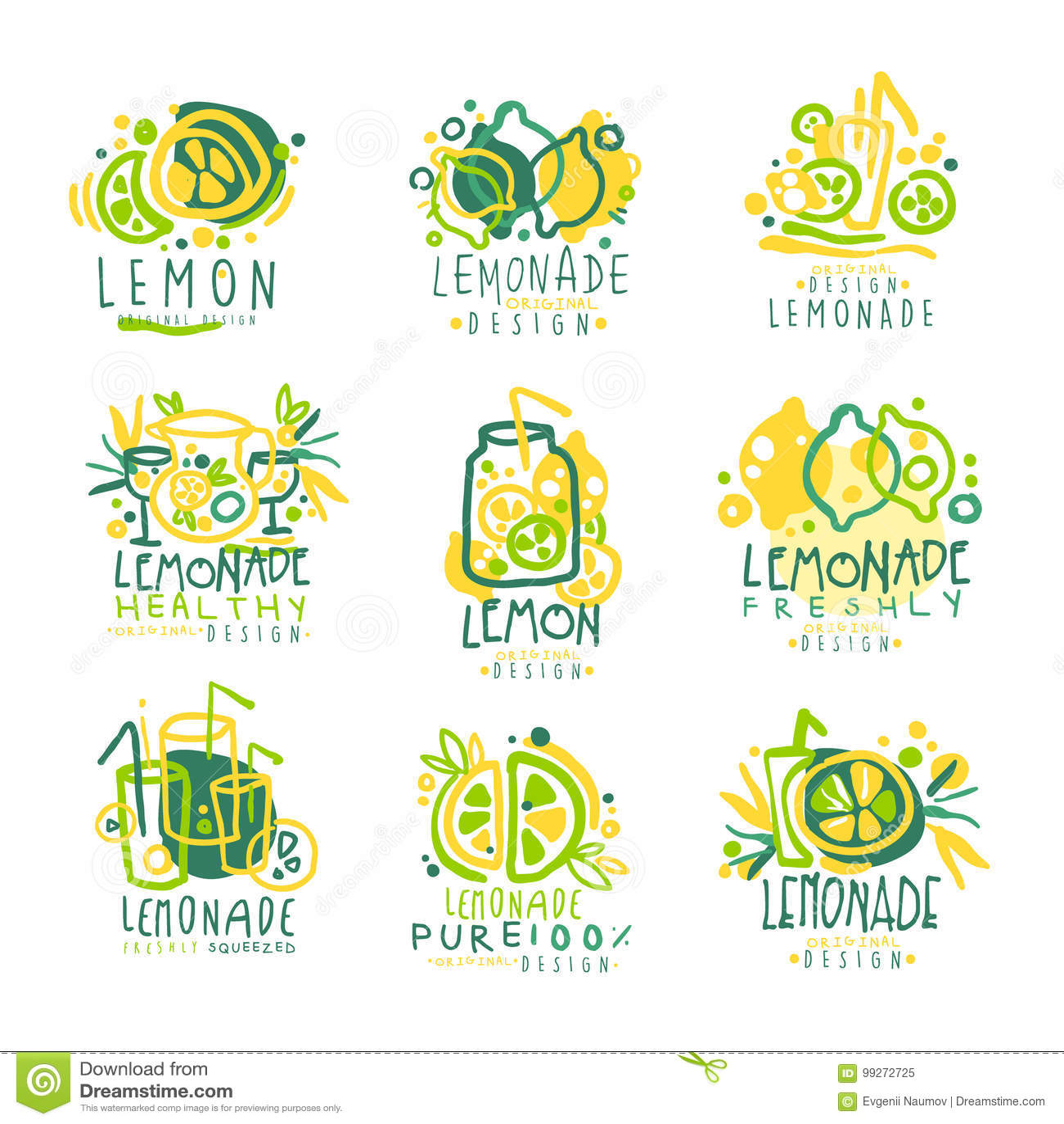 Свеже лимонад, комплект лимона 100 процентов чисто для дизайна ярлыка, руки нарисованные красочные иллюстрации вектора