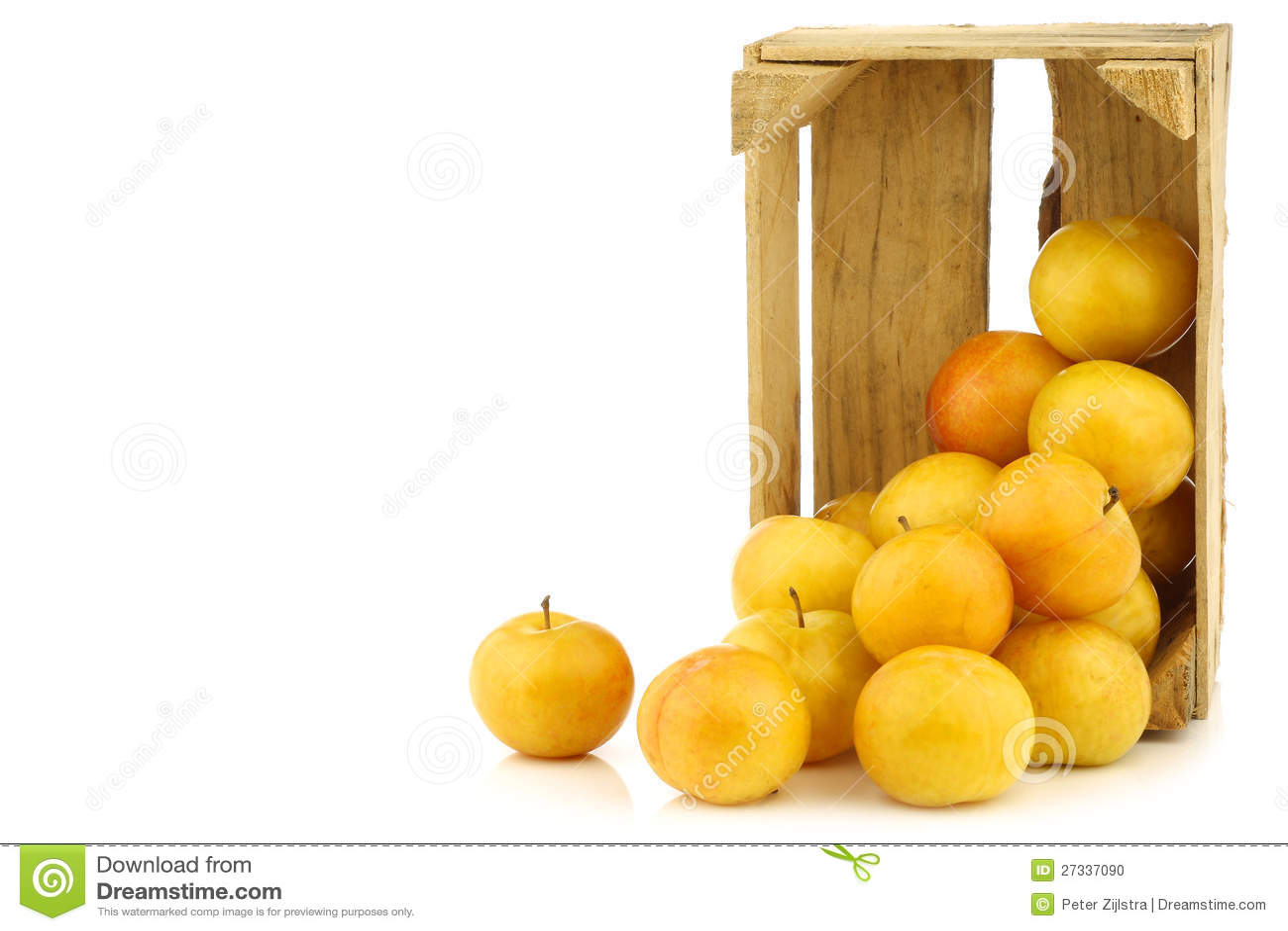 Свежие желтые сливы в деревянной клети