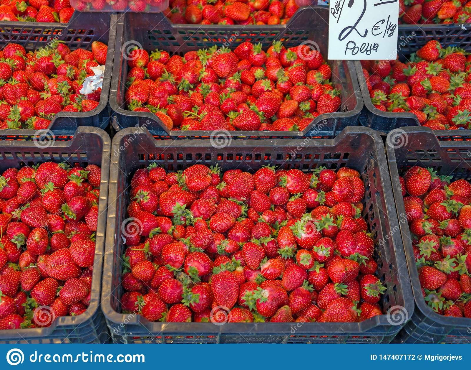 Свежие красные клубники в корзинах подготавливают для продажи на рынке, предпосылке от свежо сжатых клубник, выбранном фокусе