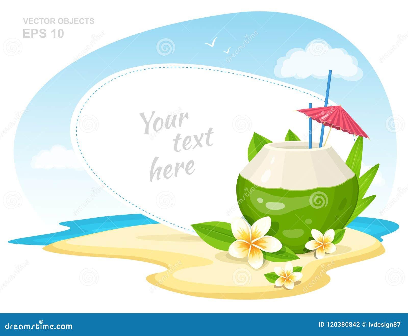 Свежий коктеиль кокоса с цветками Plumeria, соломы и зонтик на острове приставают к берегу Атрибут каникул временени вектор