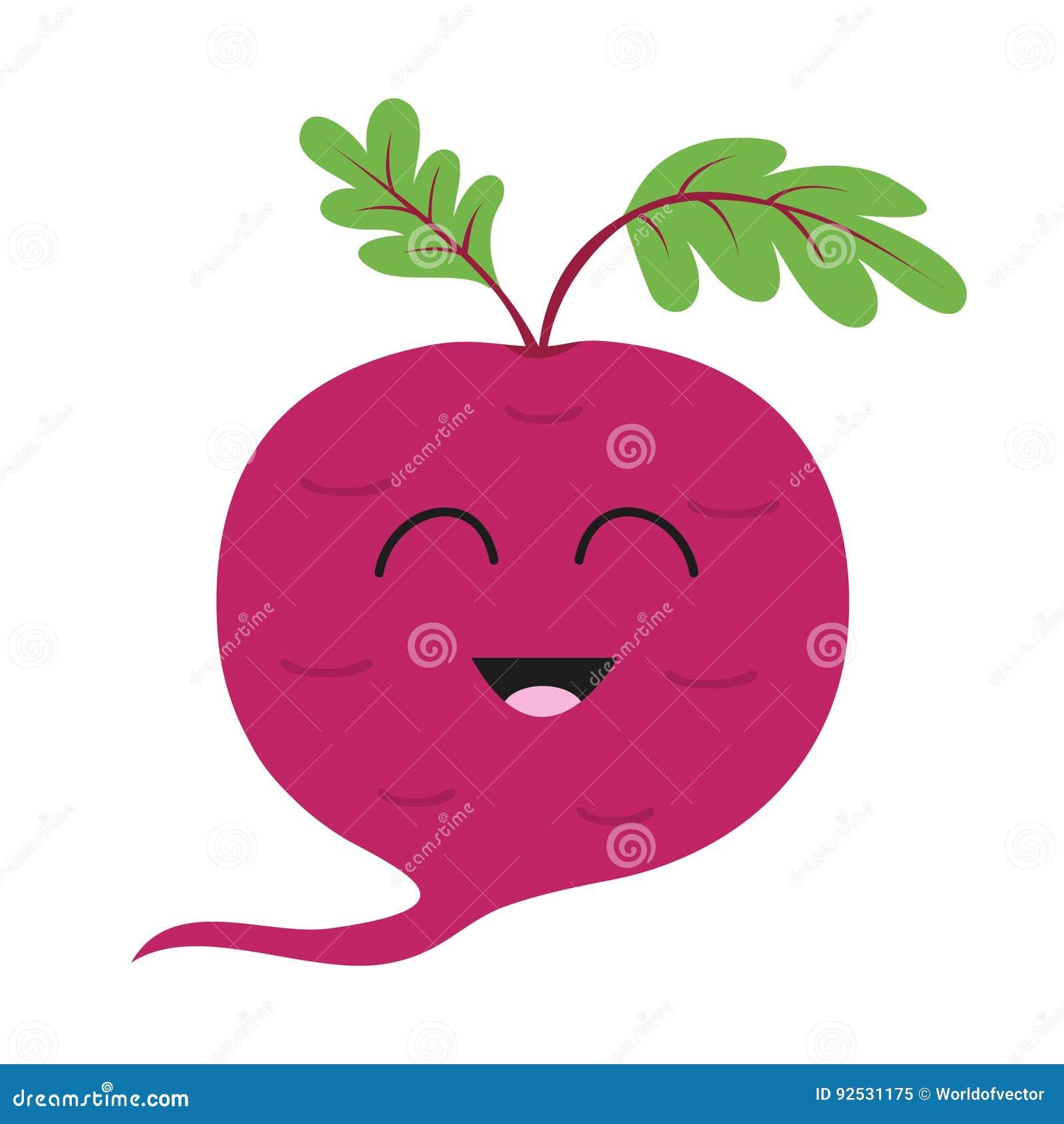 Свекла с значком листьев Красные бураки Vegetable собрание Еда свежей фермы здоровая усмехаться стороны Милый персонаж из мультфи