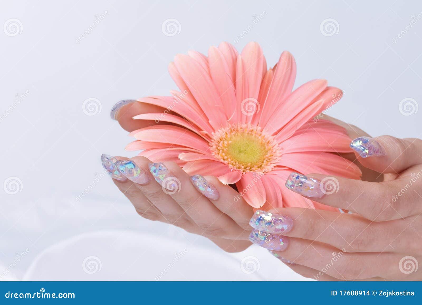 сверкнать manicure цветка розовый