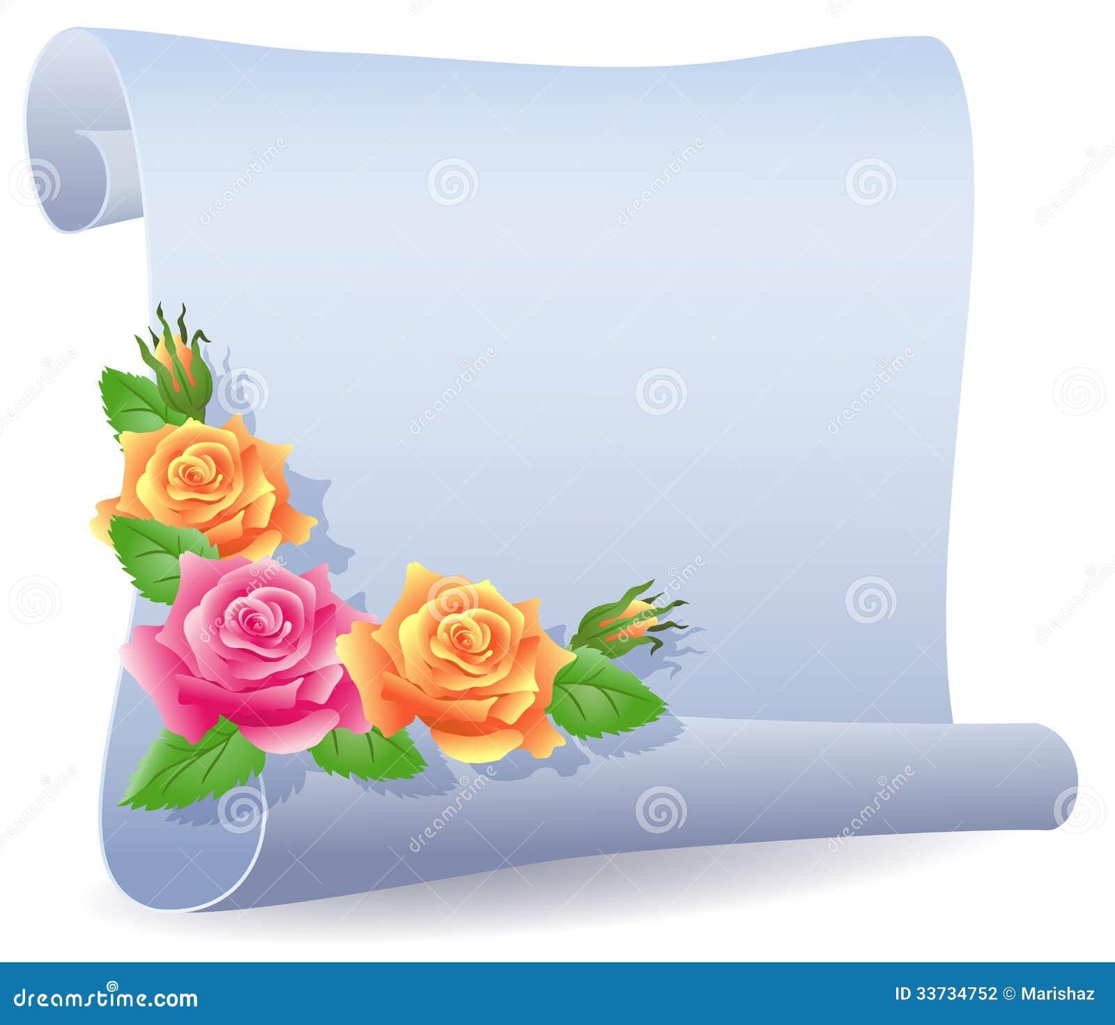 Свернутые пергамент и розы