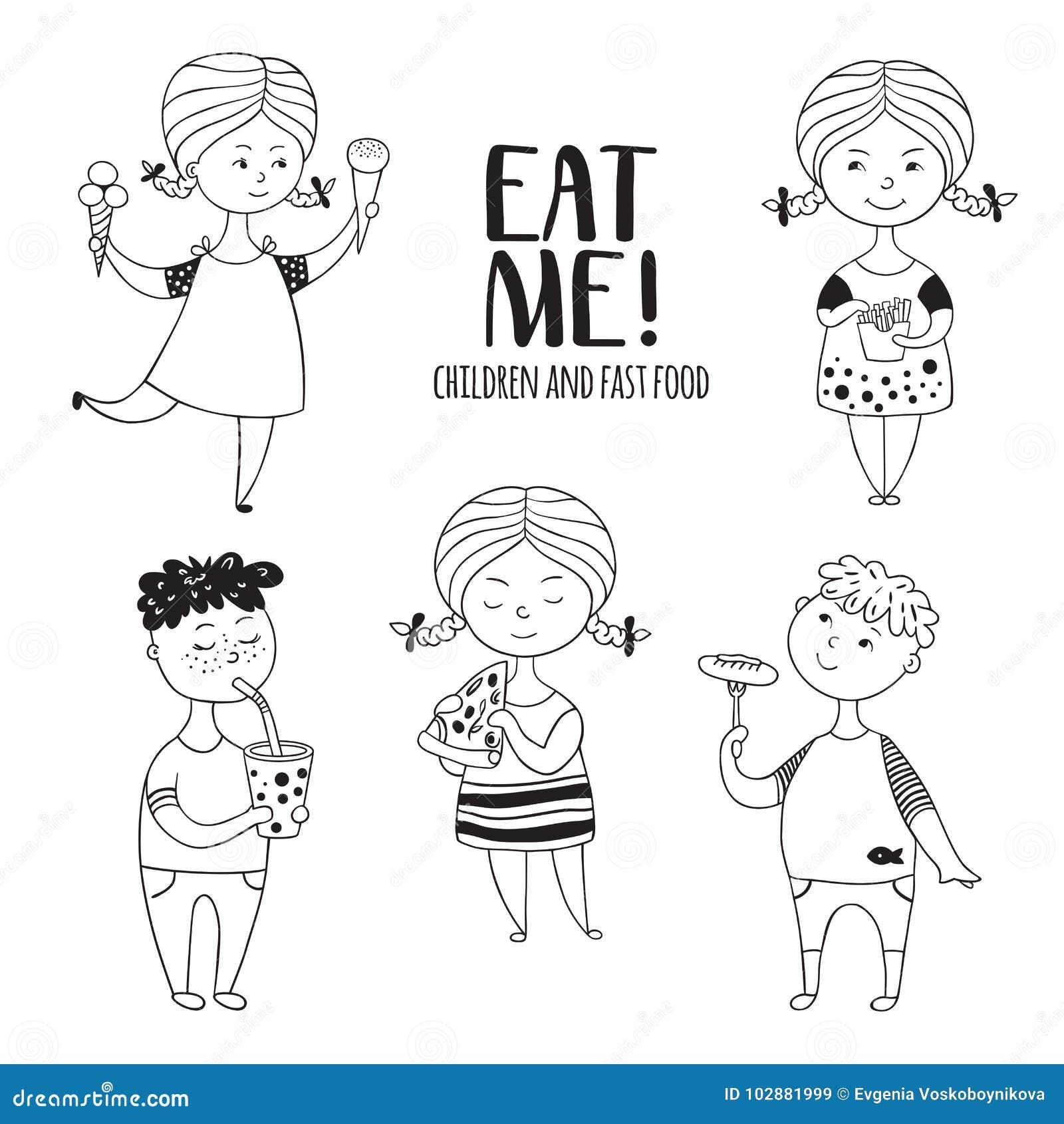 Светотеневая еда мальчиков и девушек комплекта