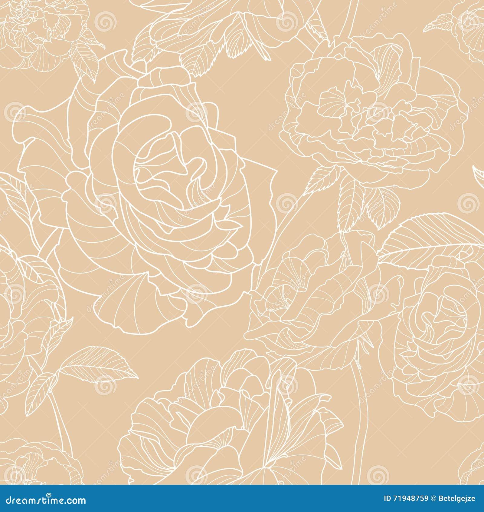 Светлая бежевая предпосылка с цветками плана нарисованными рукой розовыми вектор флористической картины безшовный