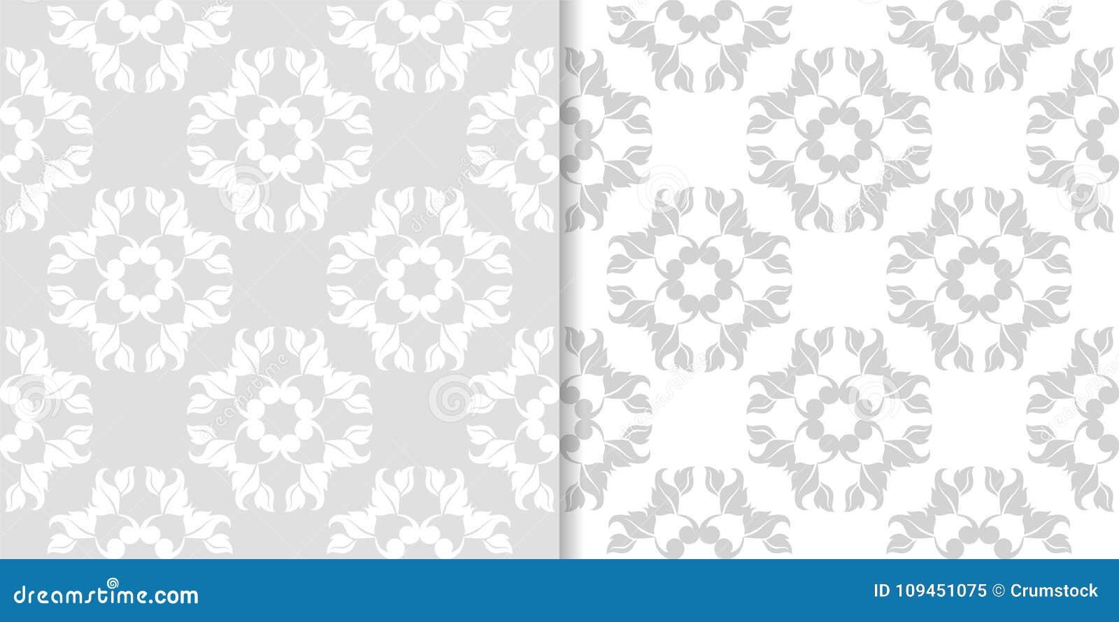 Свет - комплект серого цвета флористических безшовных картин