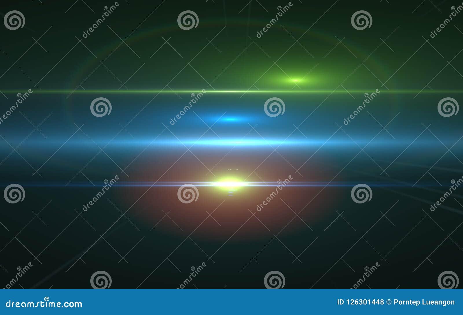 Свет пирофакела объектива над черной предпосылкой Слой легкой замены составной в экранном режиме
