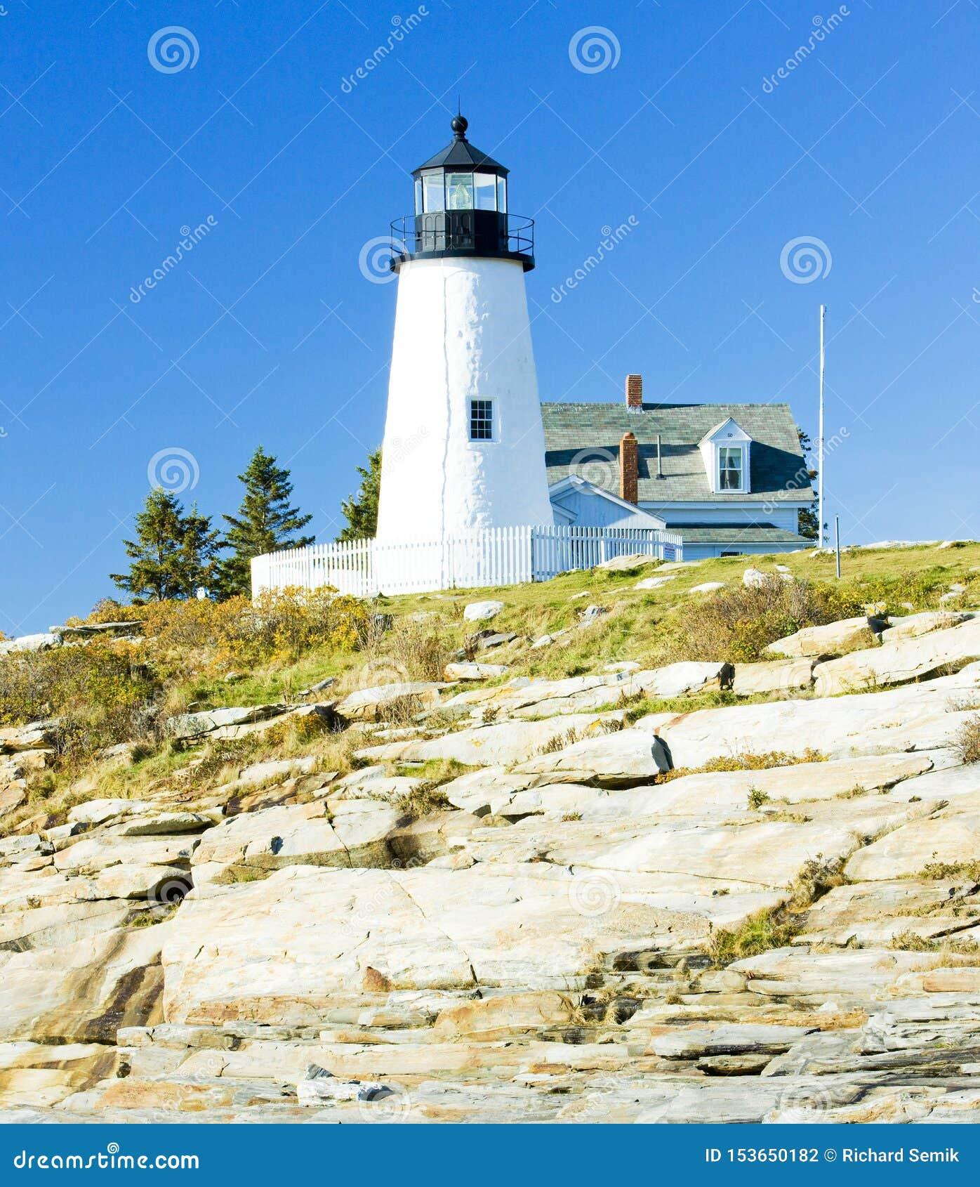 свет пункта Pemaquid маяка, Мейн, США
