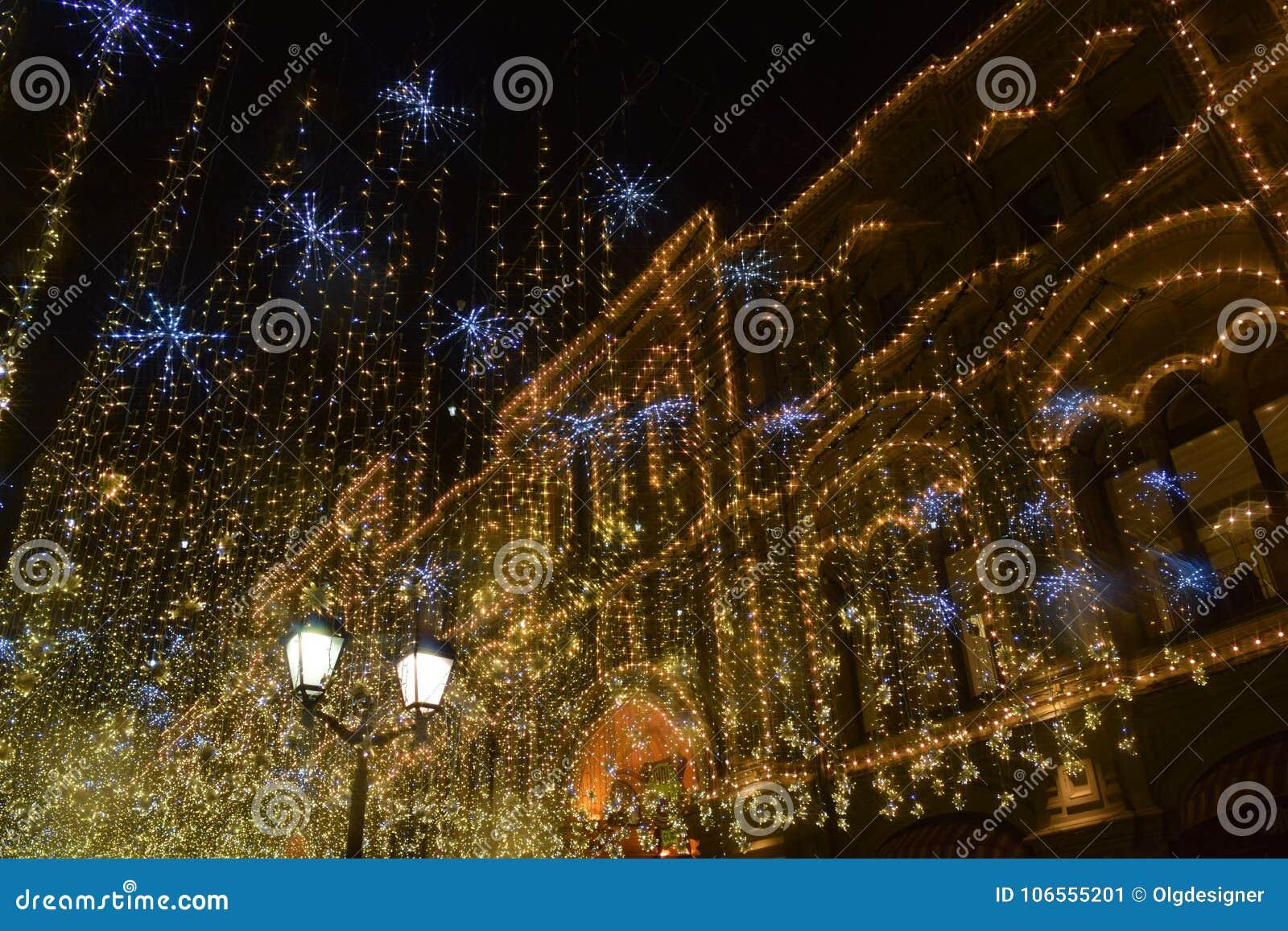 Свет рождества в Москве, улице Nikolskaya
