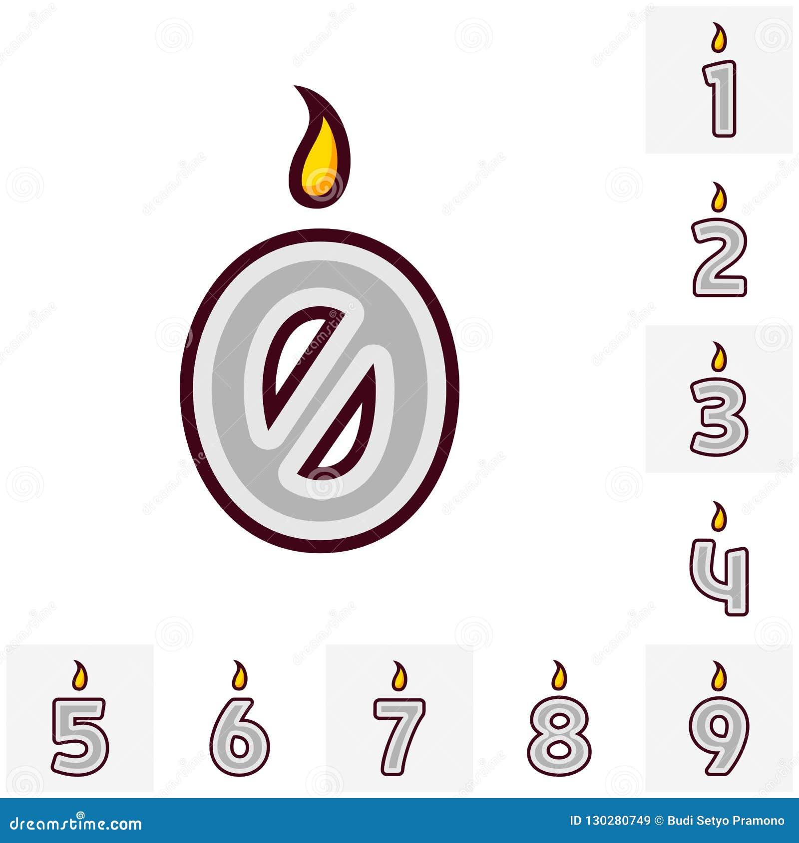 Свеча дня рождения дизайна вектора плоская установила в форме всех номеров Горя красочные свечи с различными праздничными картина