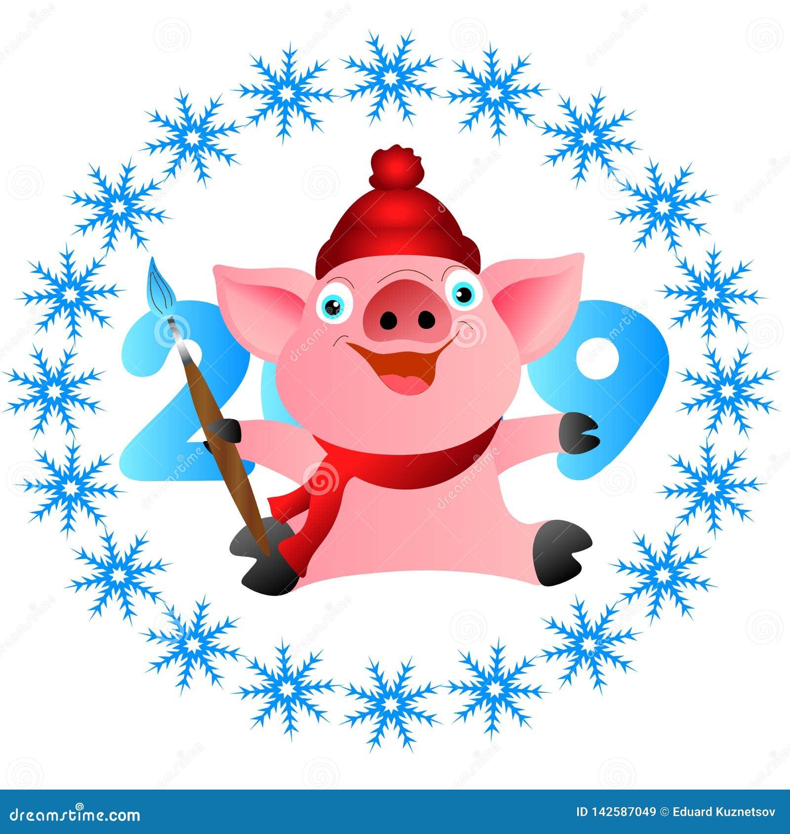 Свинья веселого рождества с щеткой Свинья веселого рождества с щеткой
