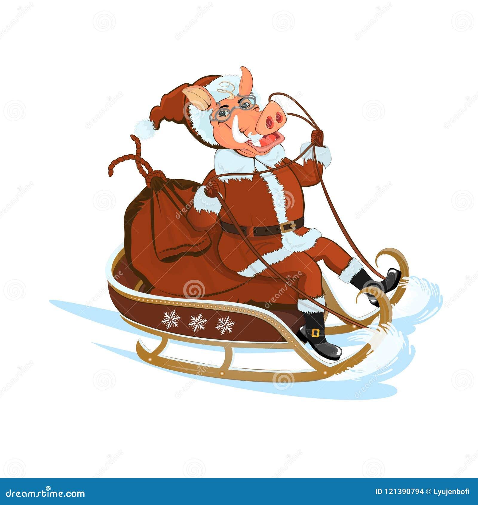Свинья Санта участвует в гонке на розвальнях с подарками