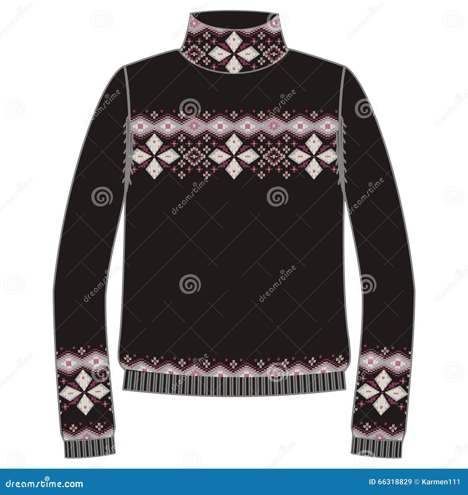 Свитер зимы теплый handmade, svitshot, шлямбур для цвета knit, черных и голубых Дизайн - картина жаккарда снежинок