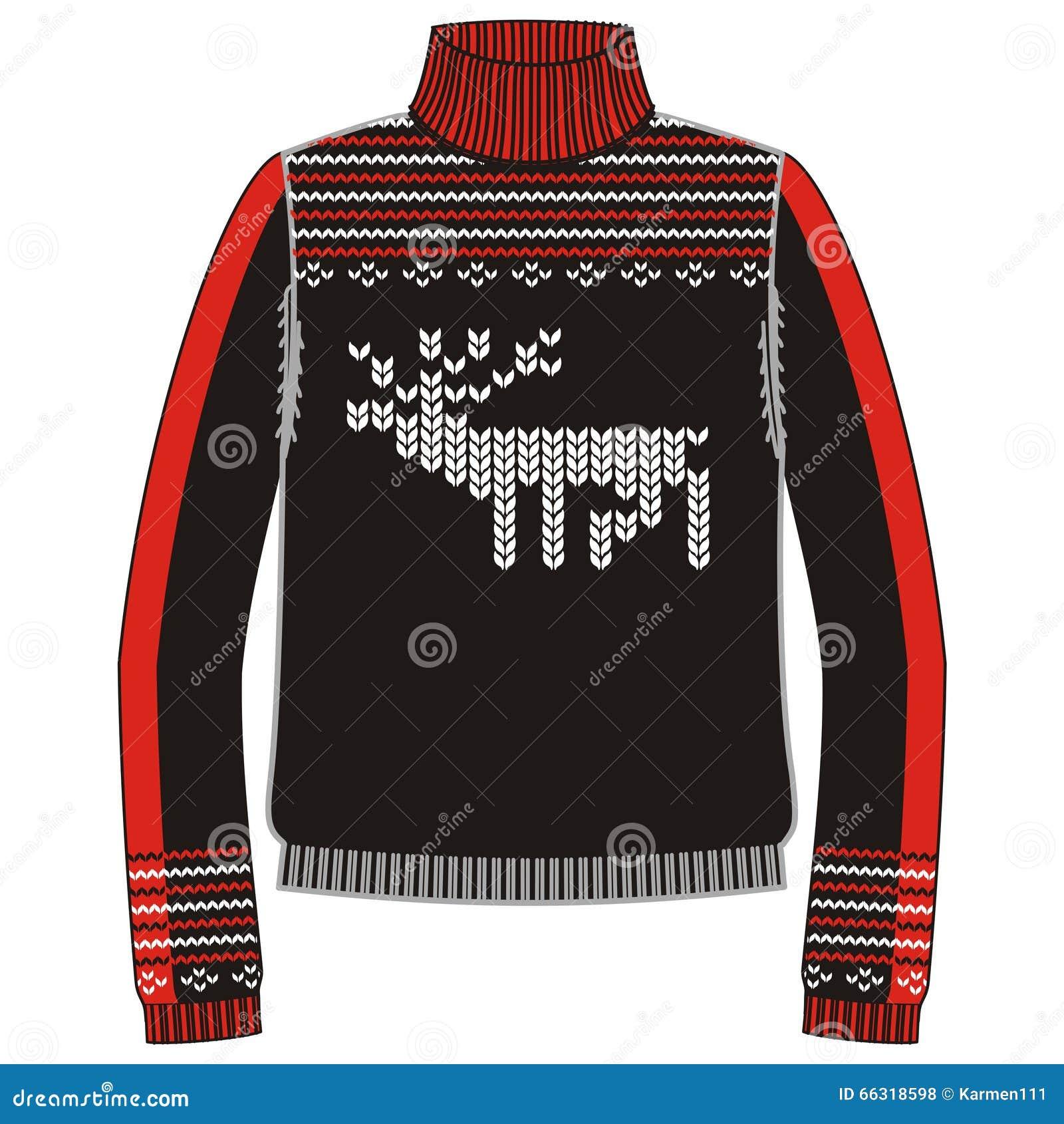 Свитер handmade, svitshot зимы теплый, шлямбур для knit, черного цвета Дизайн - снежинки, картина жаккарда северного оленя