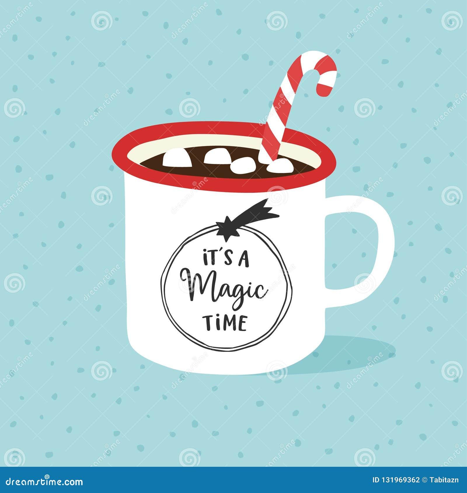 Свой волшебное время Рождество, поздравительная открытка Нового Года, приглашение Чашка руки вычерченная горячего шоколада или ко