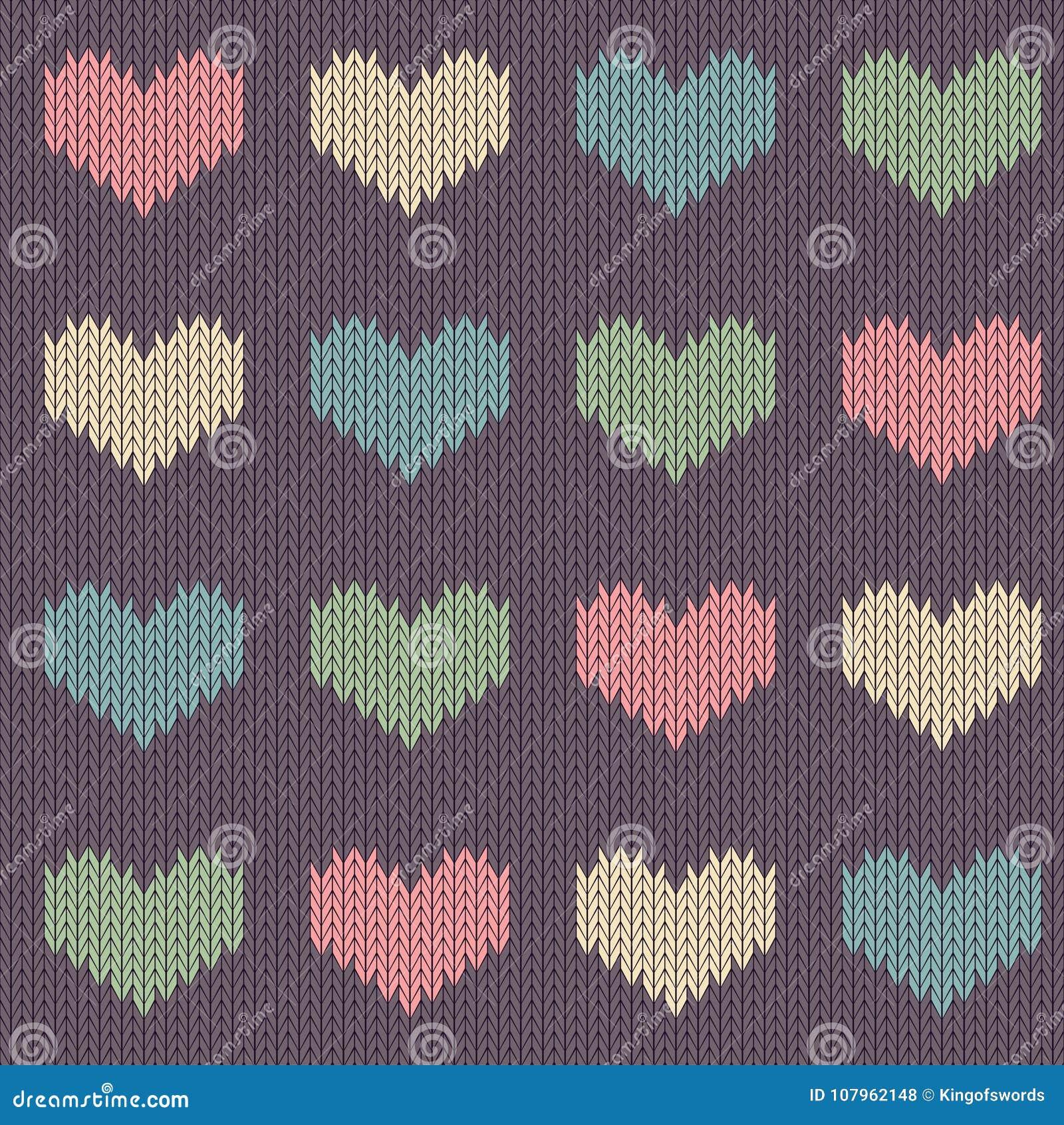 Связанная шерстяная безшовная картина с покрашенными сердцами на винтажной фиолетовой предпосылке