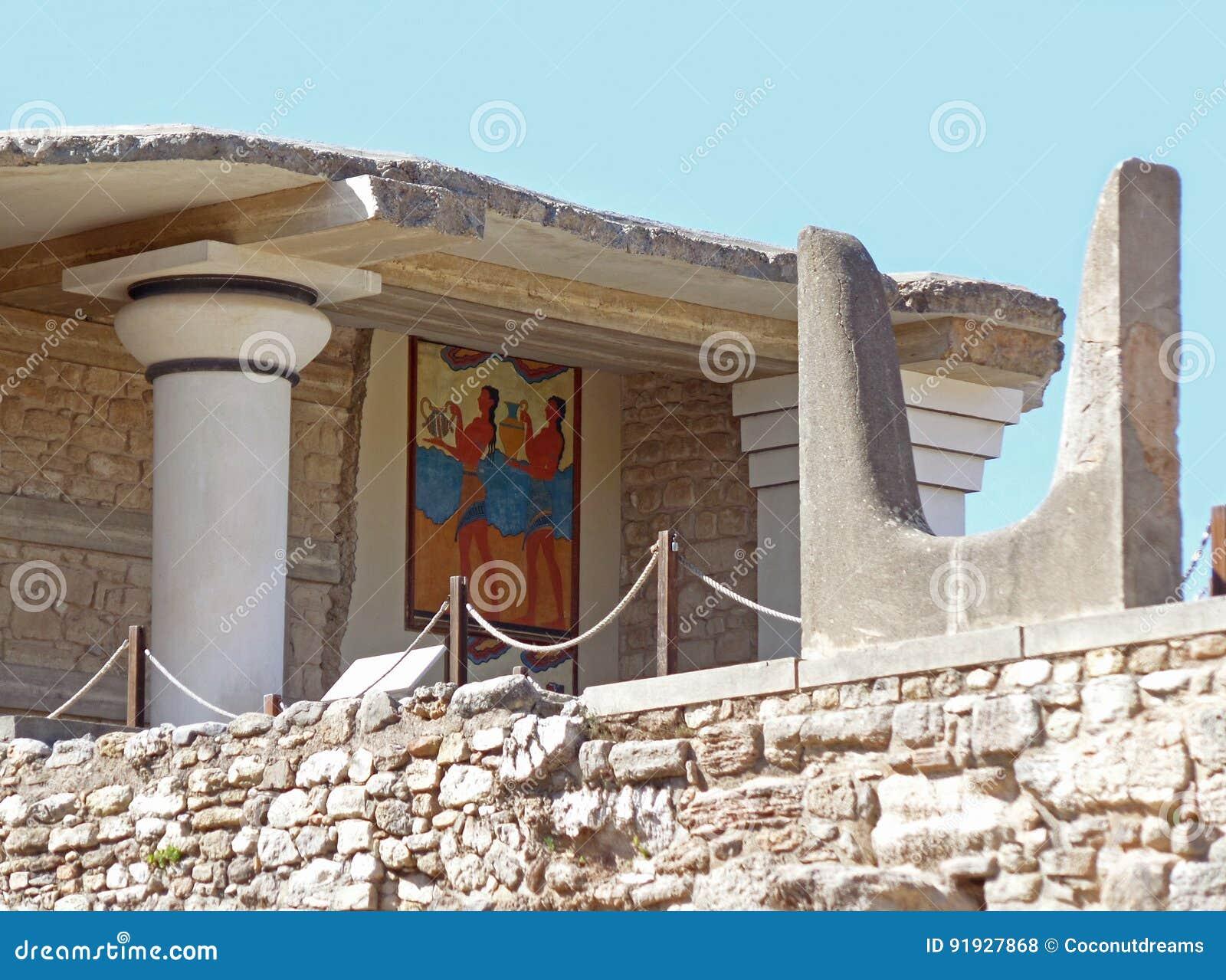 Священный рожок на южном Propylaeum с фреской Чашк-подателя, Knossos на острове Крита