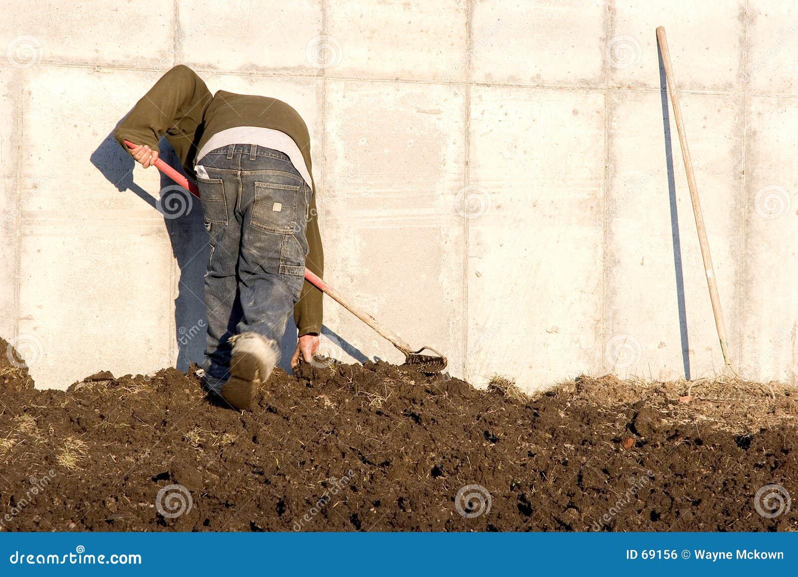 сгребать почву