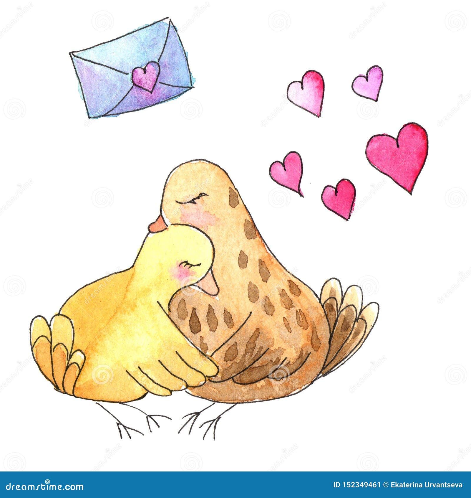 Сделайте эскиз к коричневым птицам в обнимите с сердцами и письмом