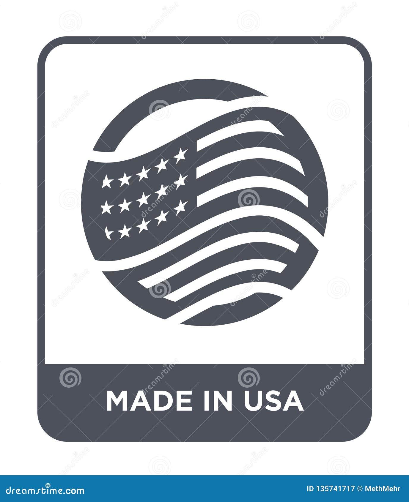 сделанный в значке США в ультрамодном стиле дизайна сделанный в изолированном значке США на белой предпосылке сделанный в значке