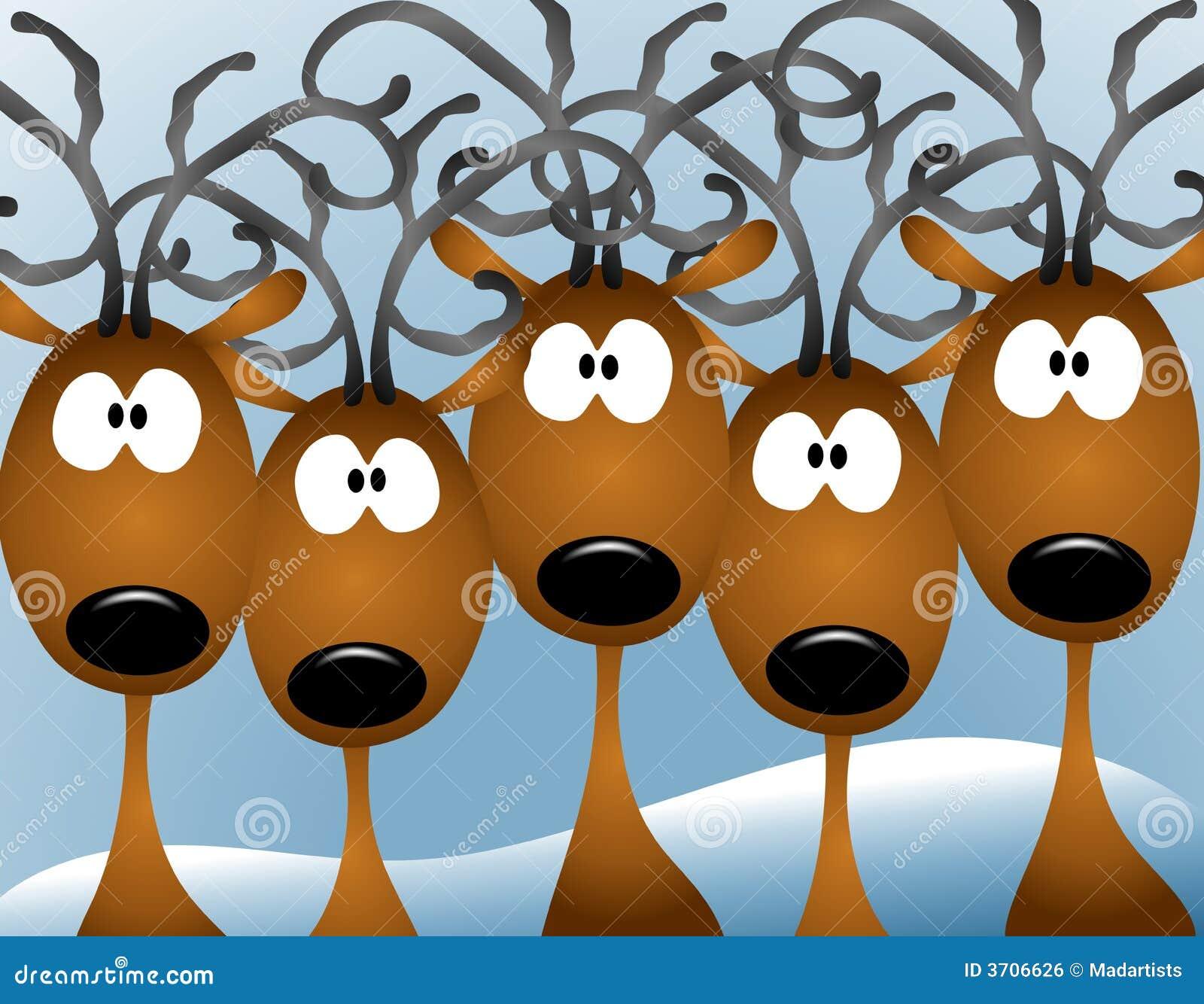 северный олень рождества шаржа карточки