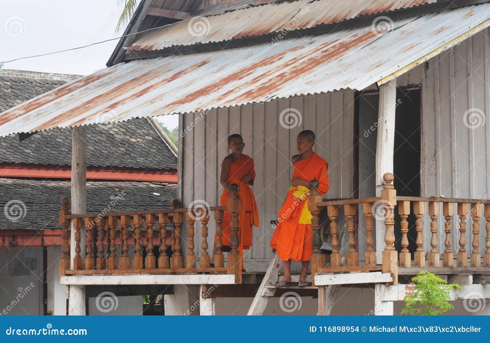 Север-Лаос: 2 молодых буддийских монаха в Luang Prabang, relig