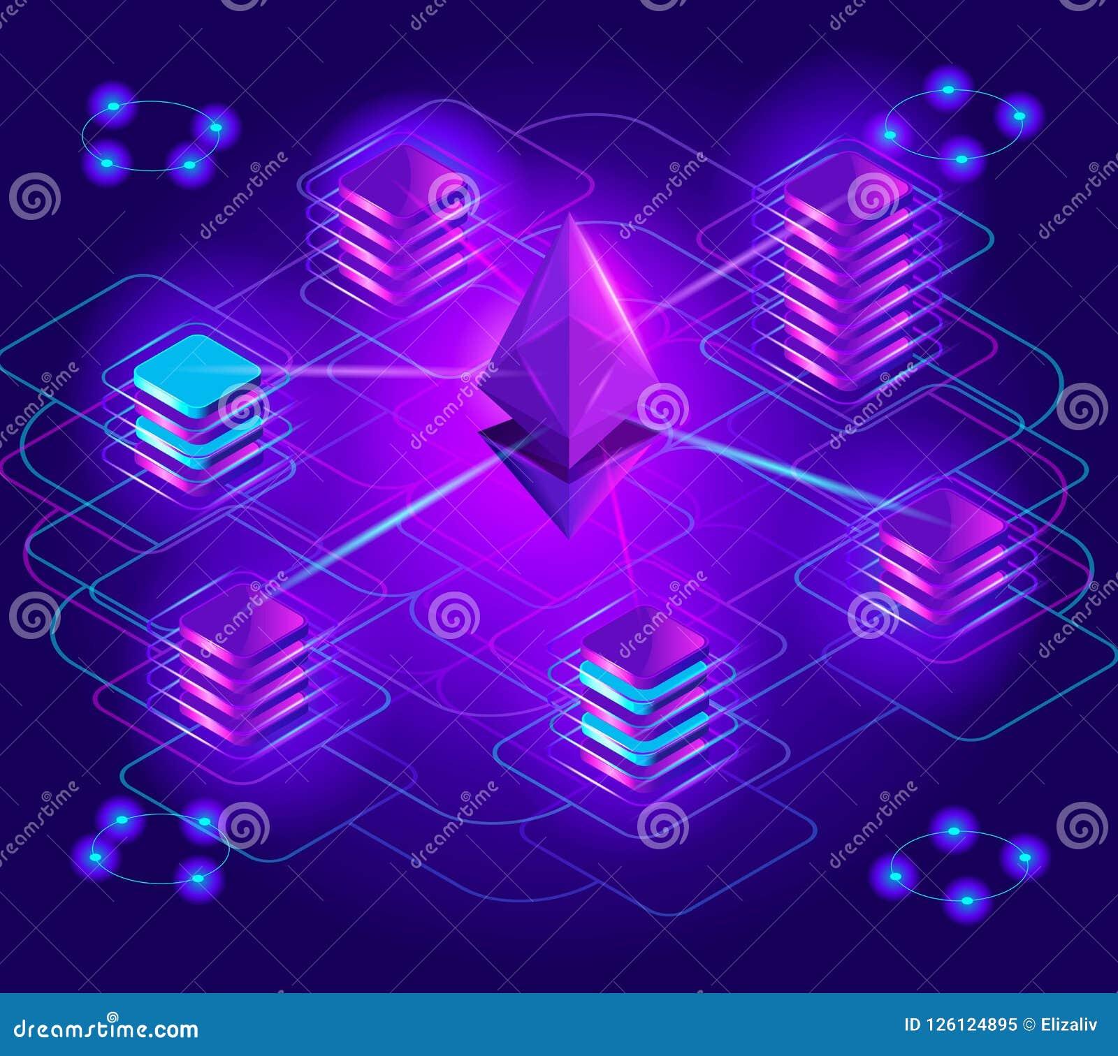 Секретный-валюта isometry, яркие голографические световые эффекты, стог засорением, платформа Ethereum, обмен,
