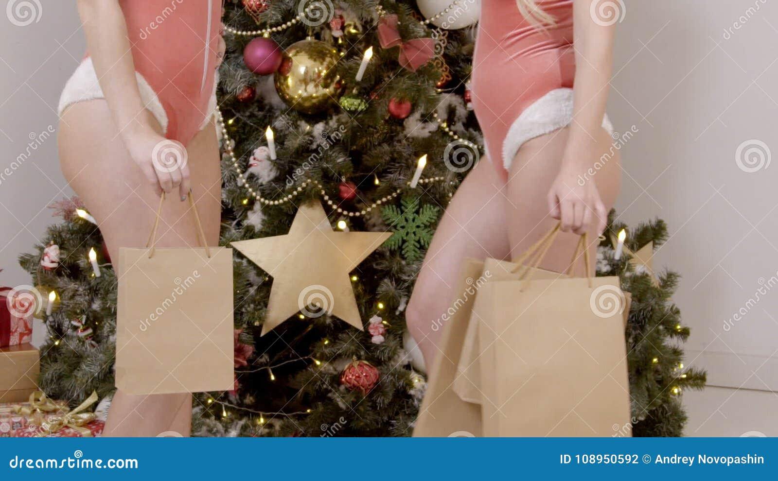 ca1246c4139b9 2 сексуальных женщины в нижнем белье стойка на рождественской елке с  сумками после ходить по магазинам видеоматериал - Видео насчитывающей  батокс, ...