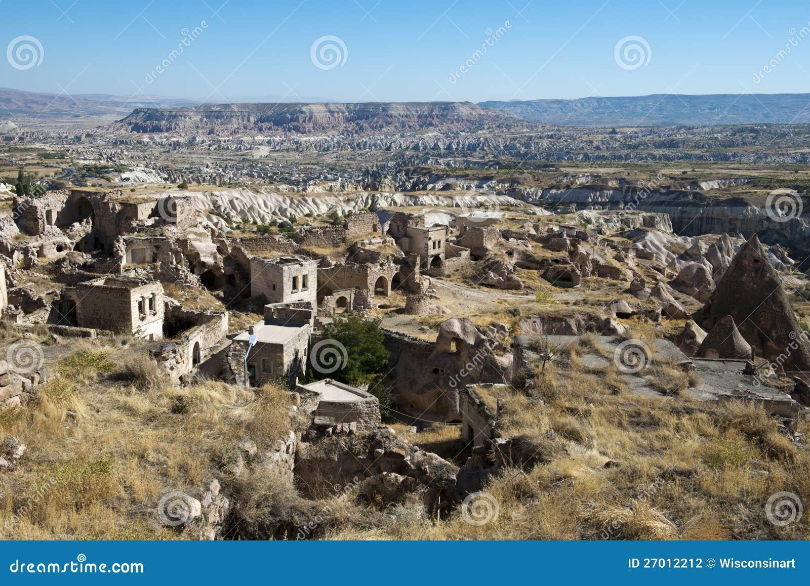 Село Ancinet каменное в Турции, среднем востоке