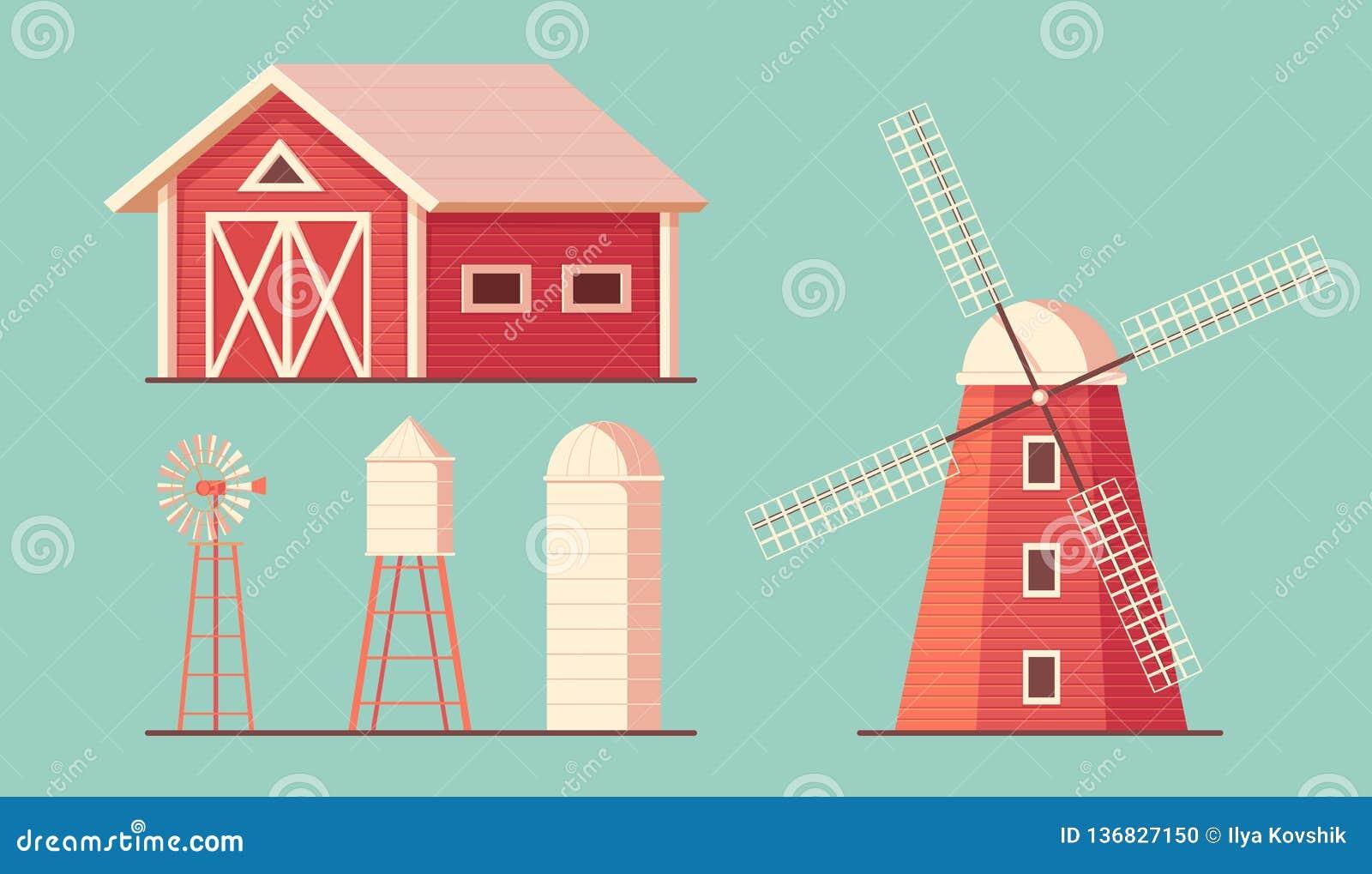 Сельское хозяйство ферма здания Башня питьевой воды Waterpump ветрянки и амбар srorage силосохранилища для мозоли и сбора