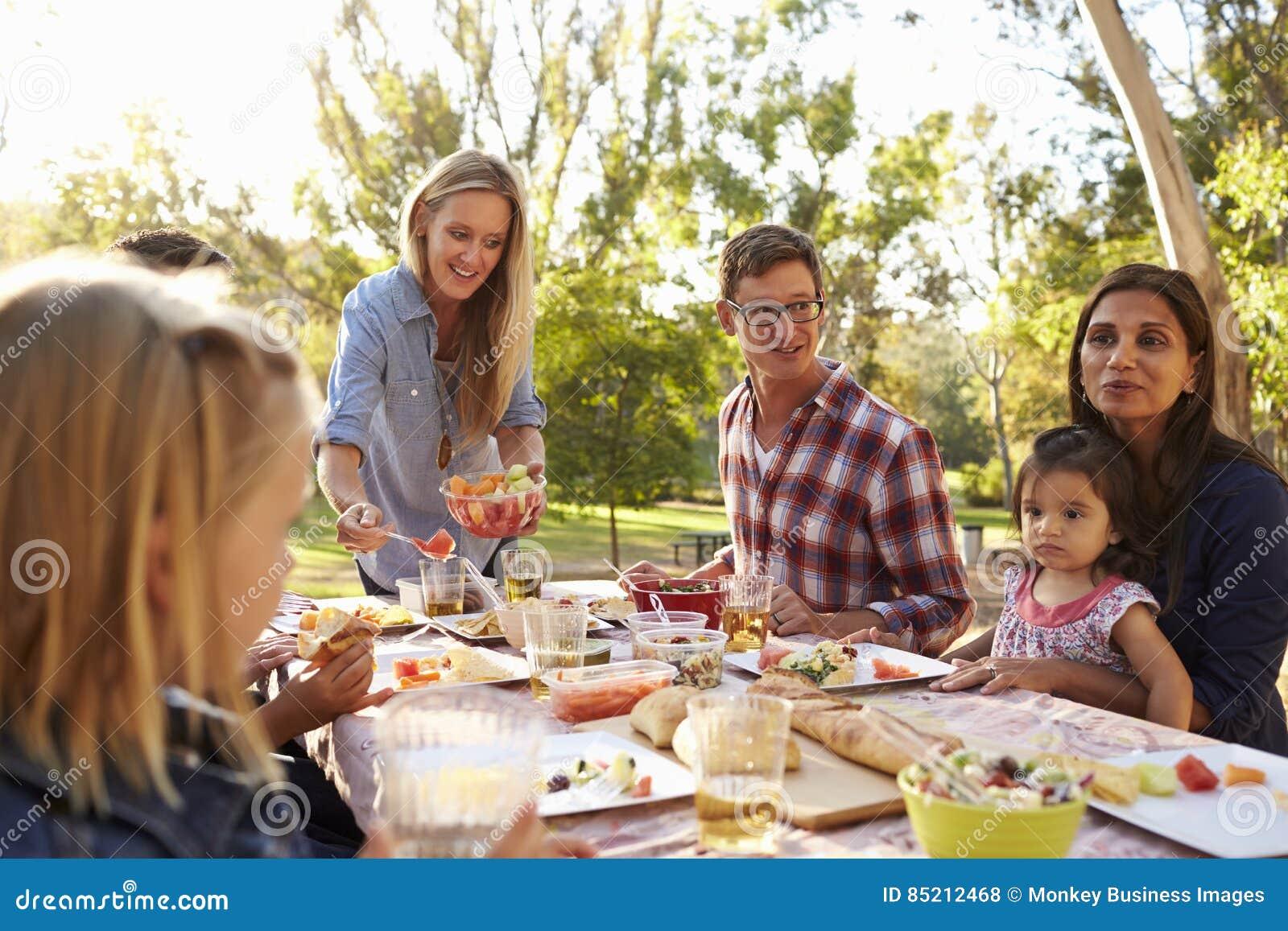 2 семьи имея пикник в парке, сервировке женщины