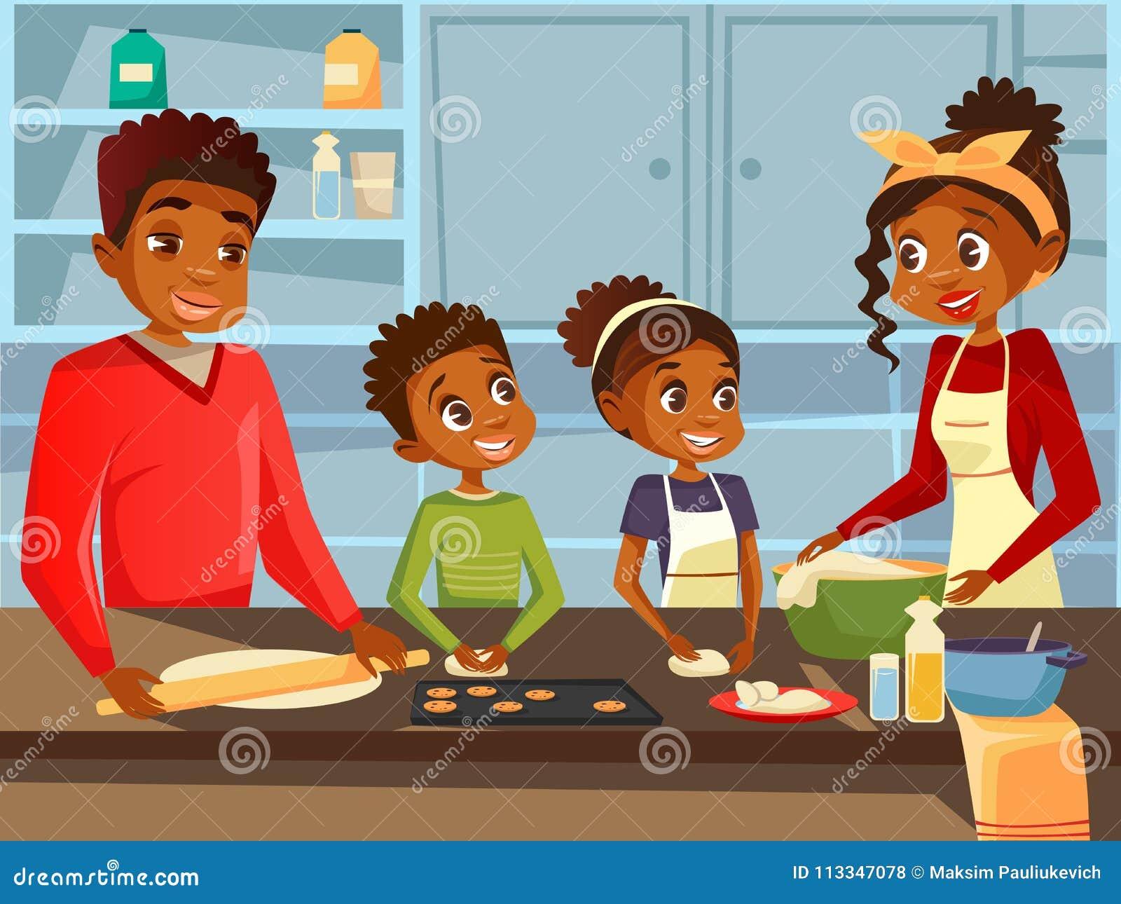 Семья Афро американская черная варя совместно на иллюстрации шаржа вектора кухни плоской африканских родителей и детей