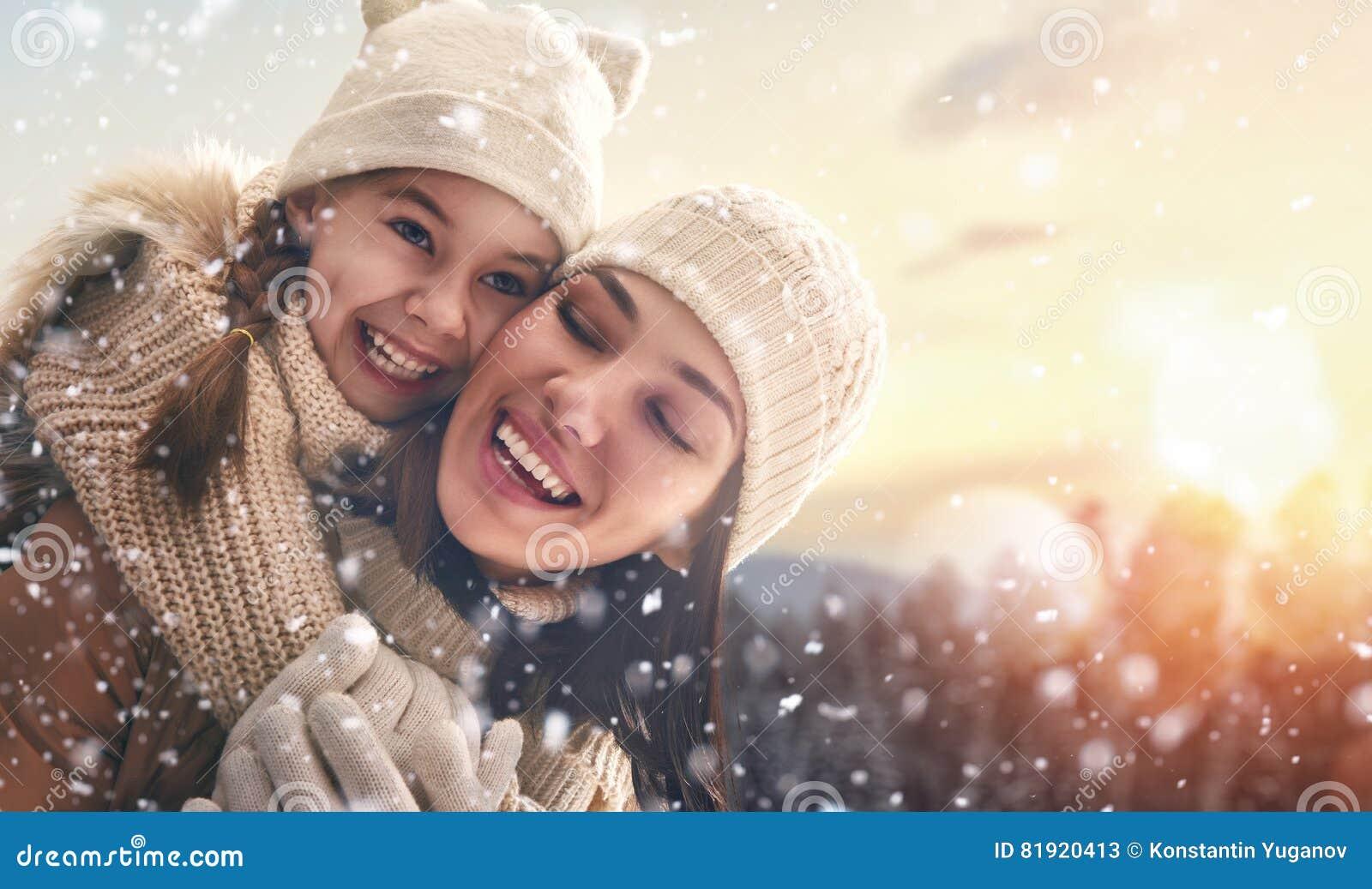 Семья и сезон зимы