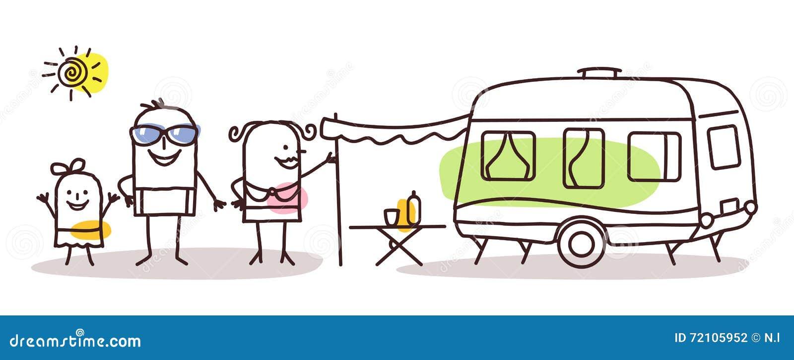 Семья шаржа с караваном