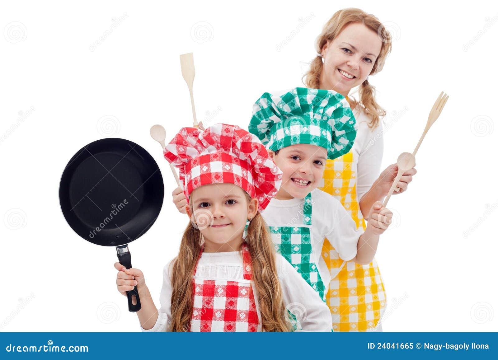 семья шеф-поваров счастливая