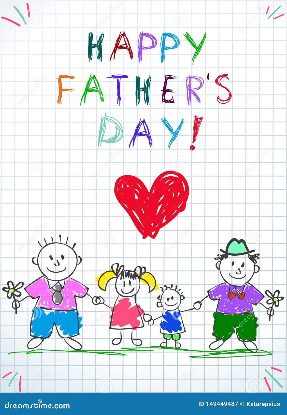 Семья Lgbt Счастливые дети дня отца рисуя 2 людей