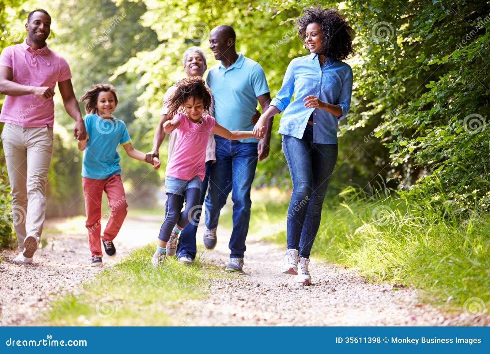 Семья Multi поколения Афро-американская на прогулке страны