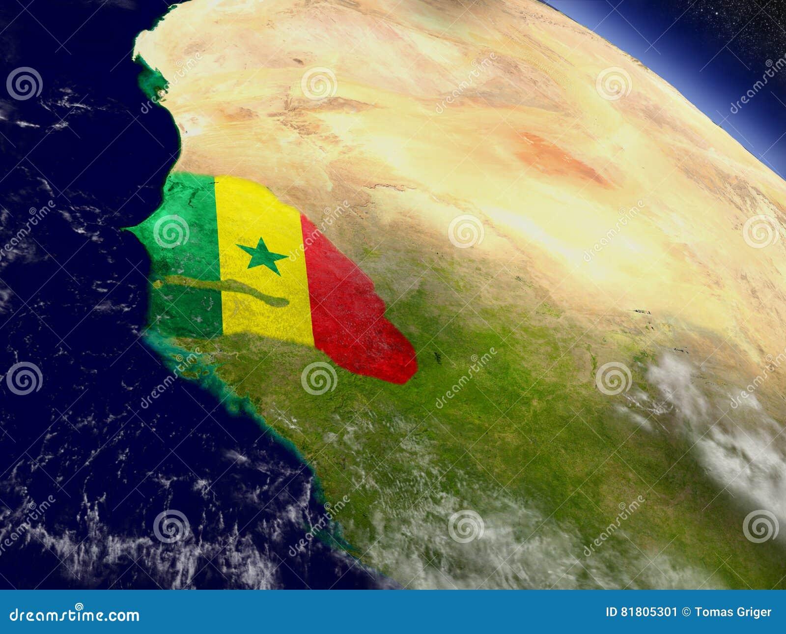 Сенегал с врезанным флагом на земле