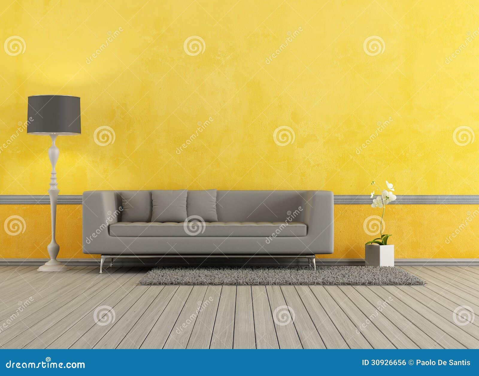 Серая и желтая живущая комната