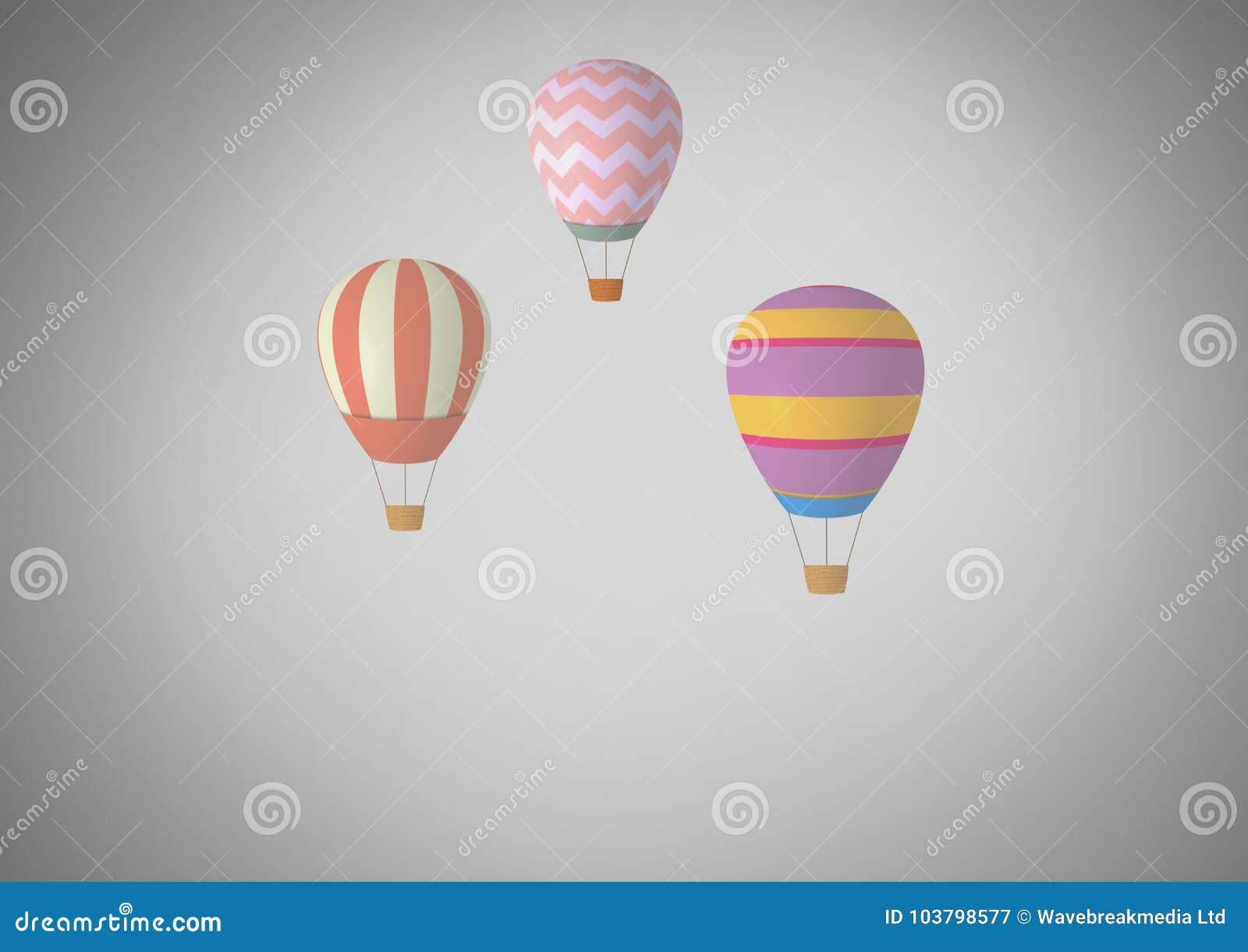 Серая предпосылка с горячими воздушными шарами