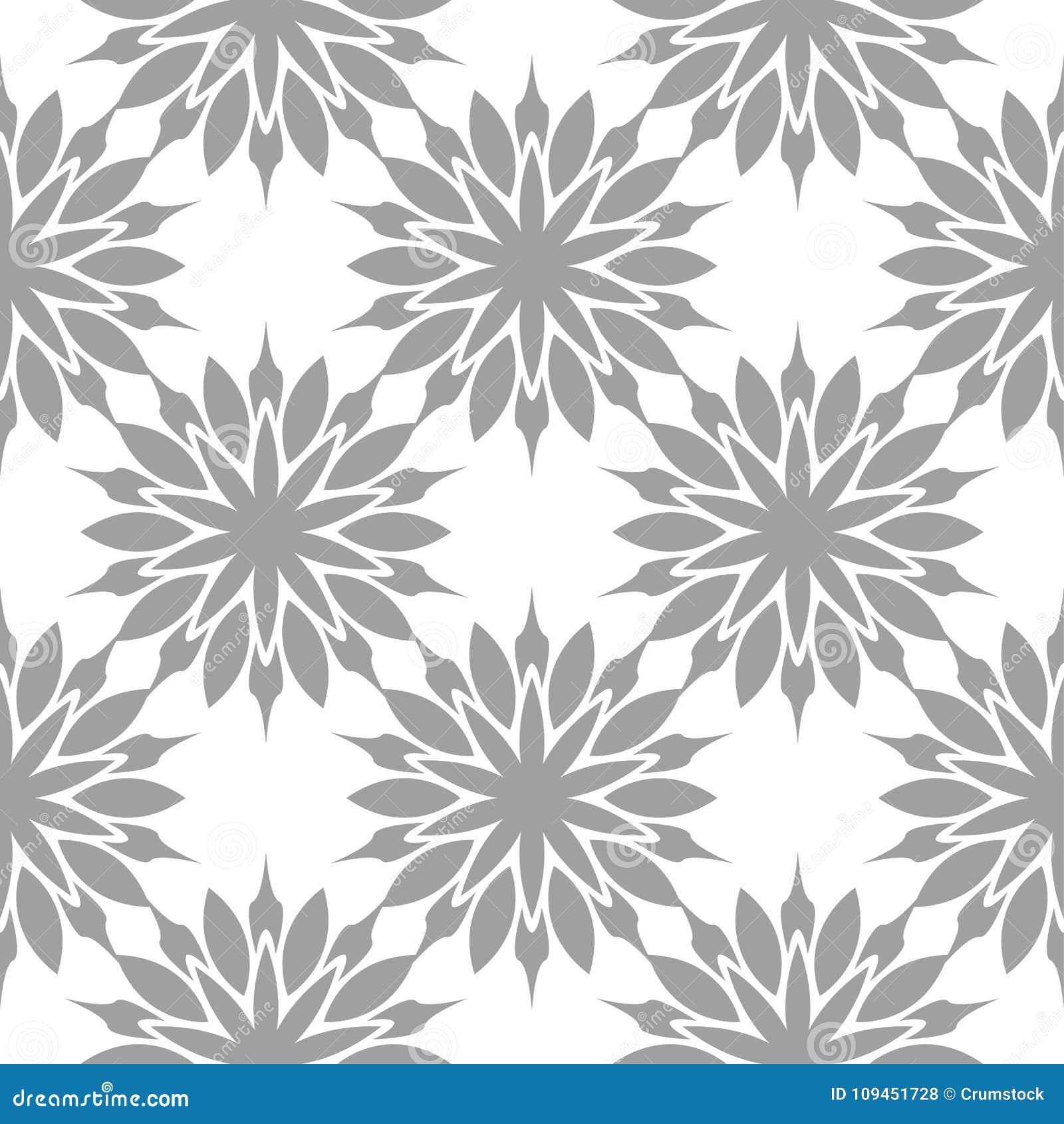 Серая флористическая безшовная картина на белой предпосылке