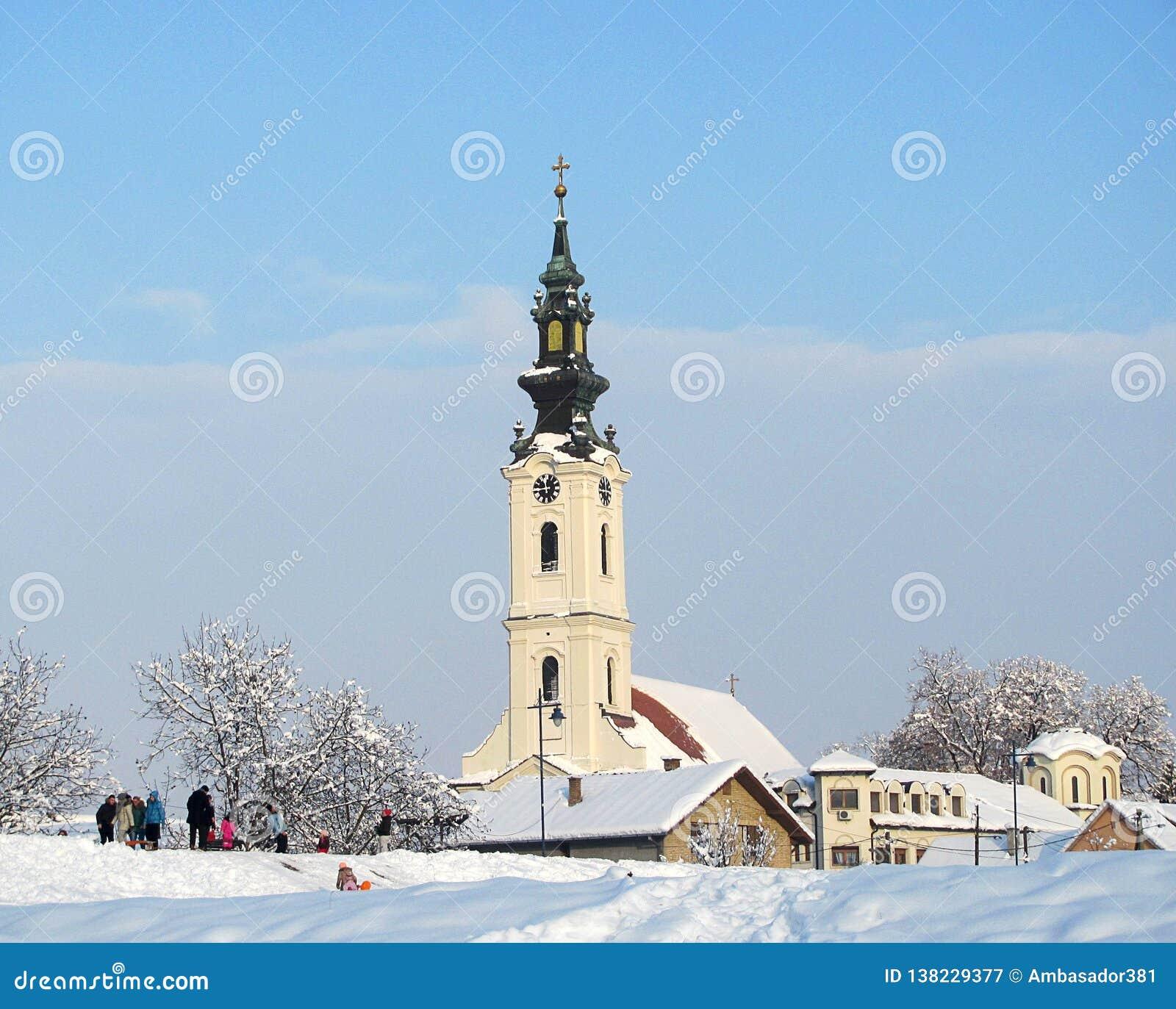 Сербская православная церков церковь Святых COSMAS И DAMIAN, Futog, около Novi грустного