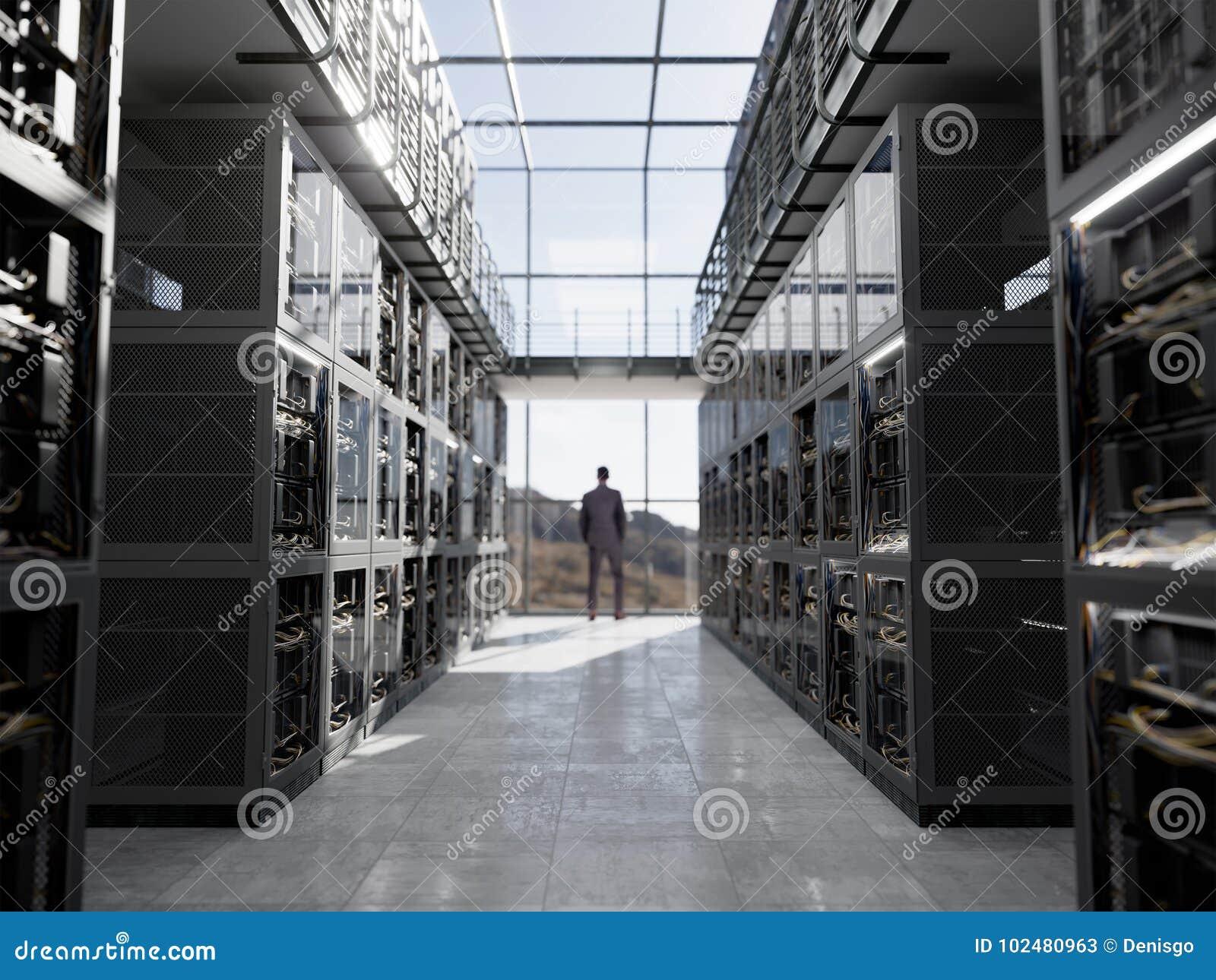 Серверы и комната оборудования с фото крупного плана компьютерной технологии кофейной чашки тетради и