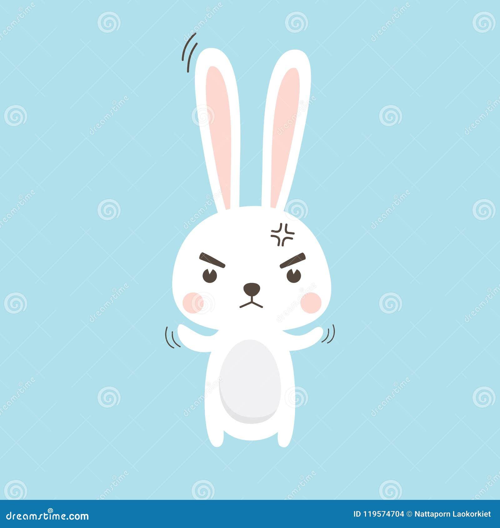 Сердитый кролик Персонаж из мультфильма иллюстрации вектора зайчика пасхи