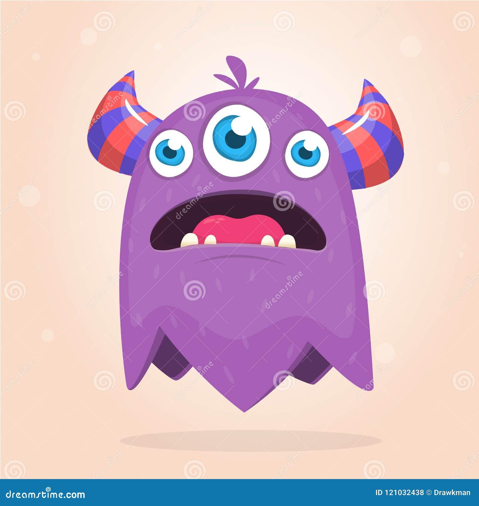 Сердитый фиолетовый изверг шаржа с рожками 3 глаза Большое собрание милых извергов Характер хеллоуина вектор изображения иллюстра