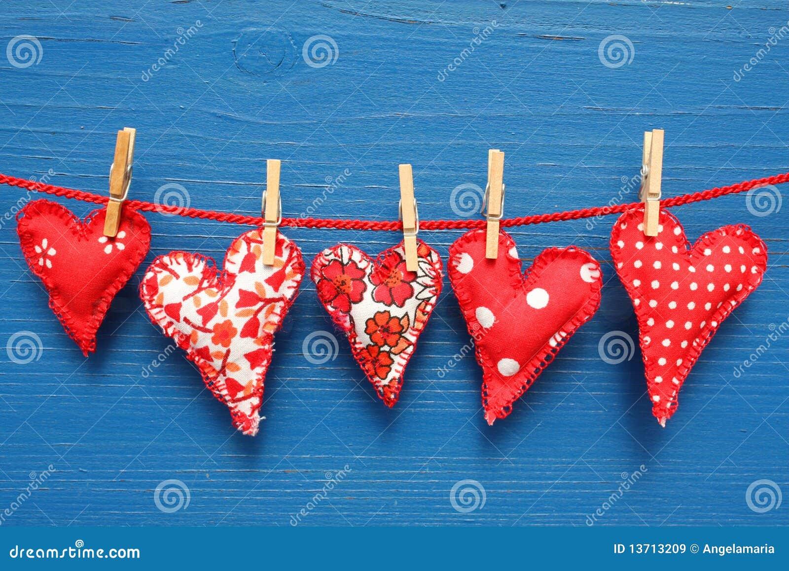 сердца clothespins красные