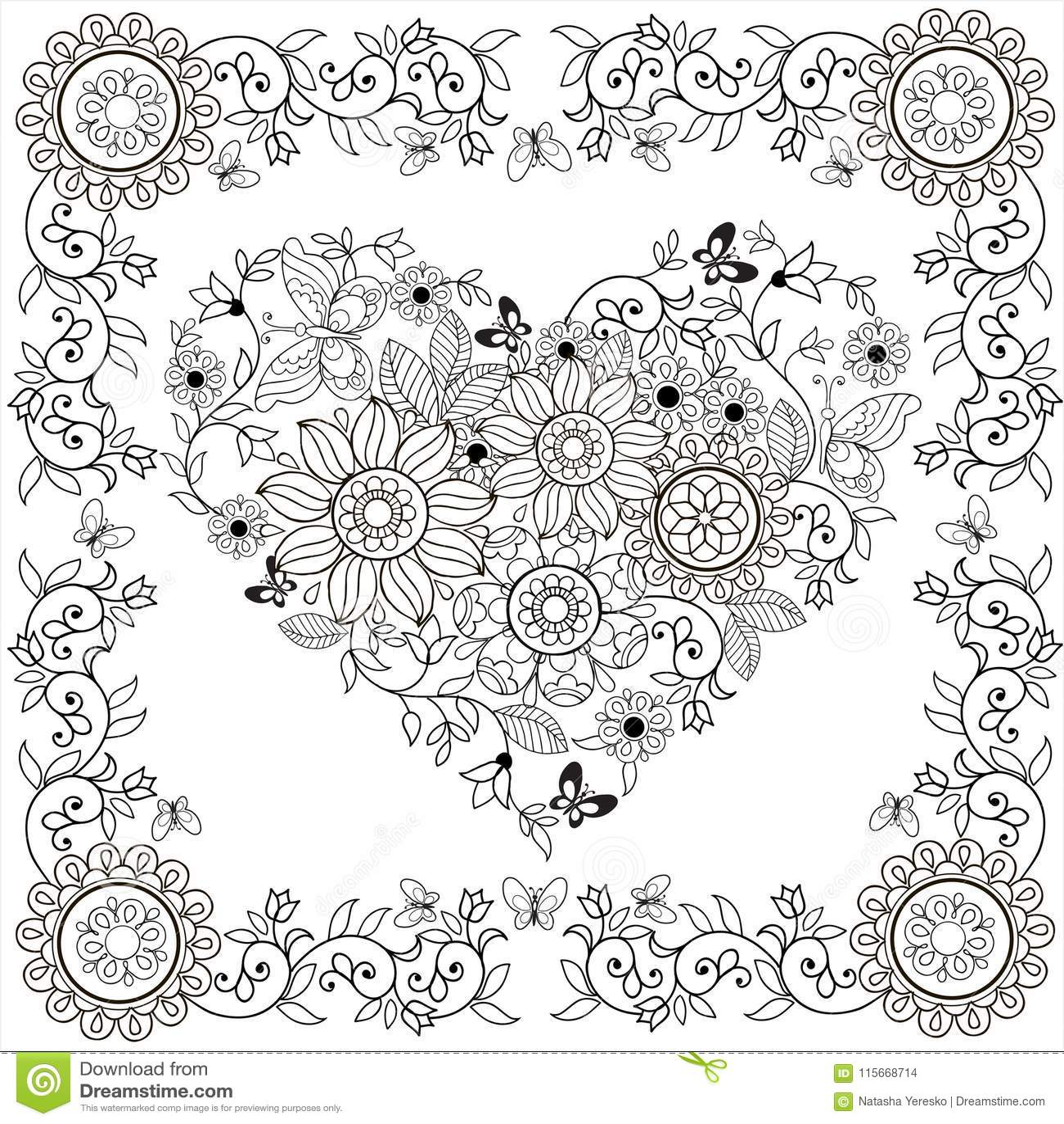 сердце книжка раскраски декоративное цветков и бабочек в