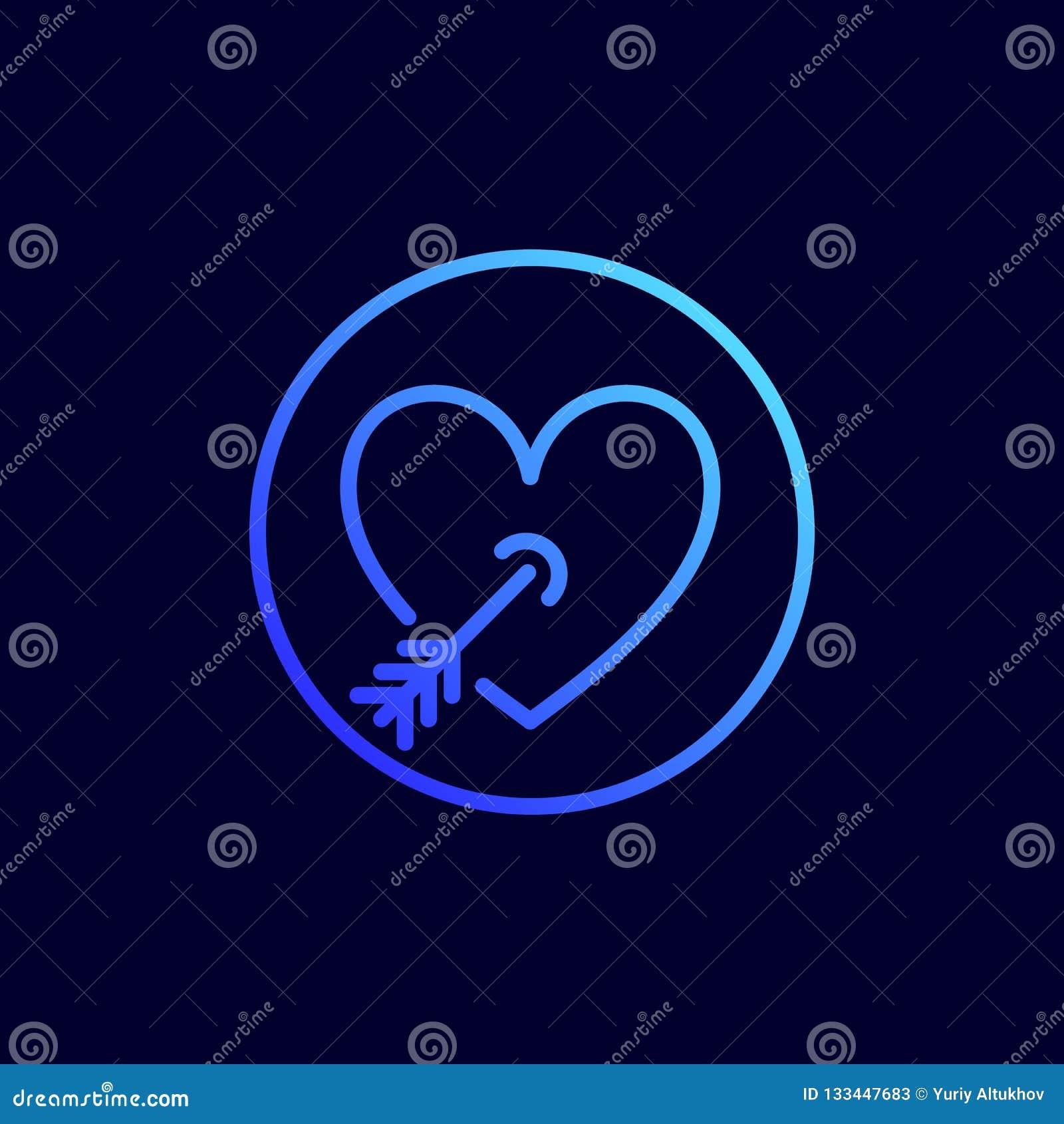 Сердце прокалыванное со значком стрелки Иллюстрация вектора в плоской линии стиле