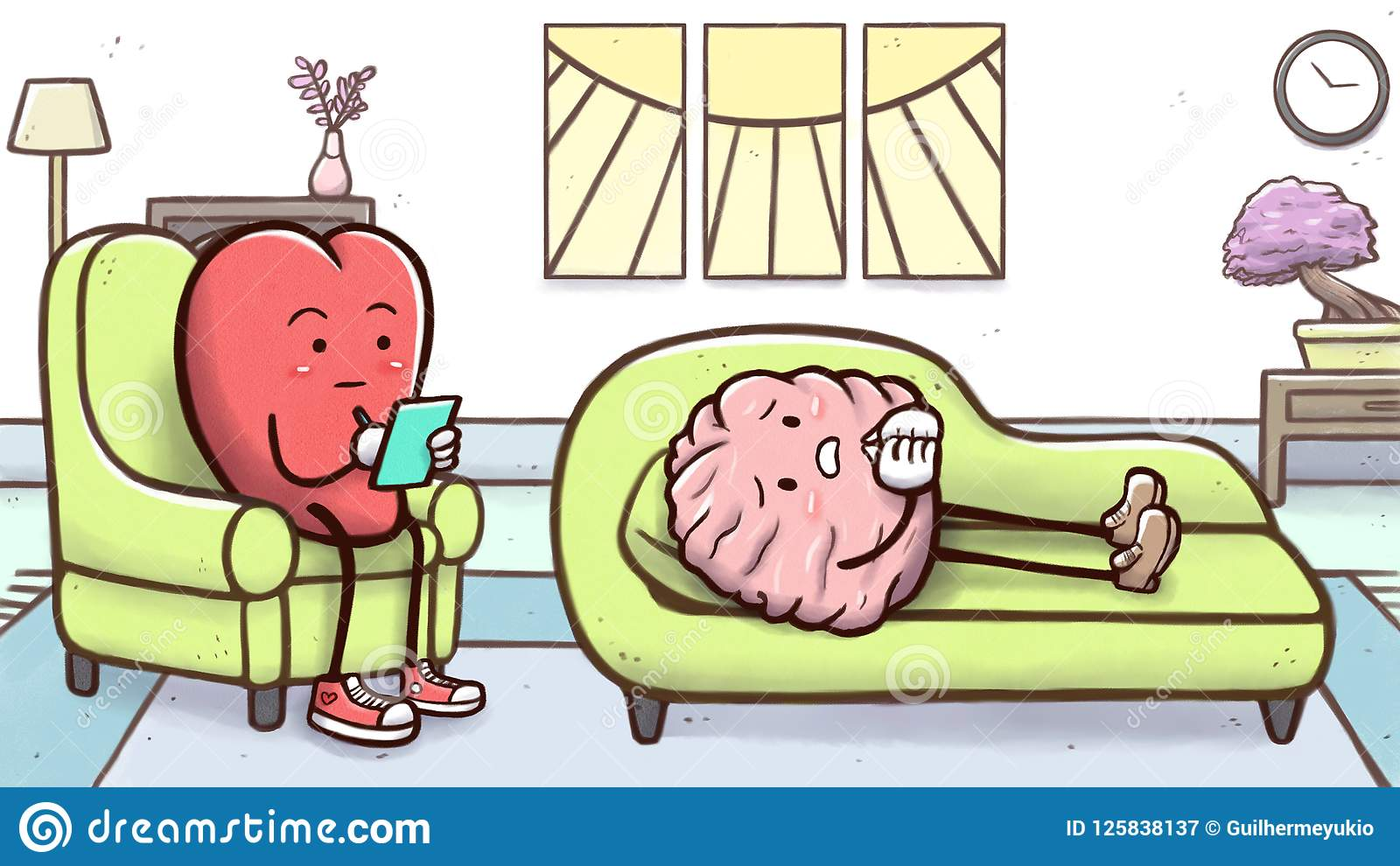 Сердце психолога в терапевтической сессии с терпеливым мозгом на кресле